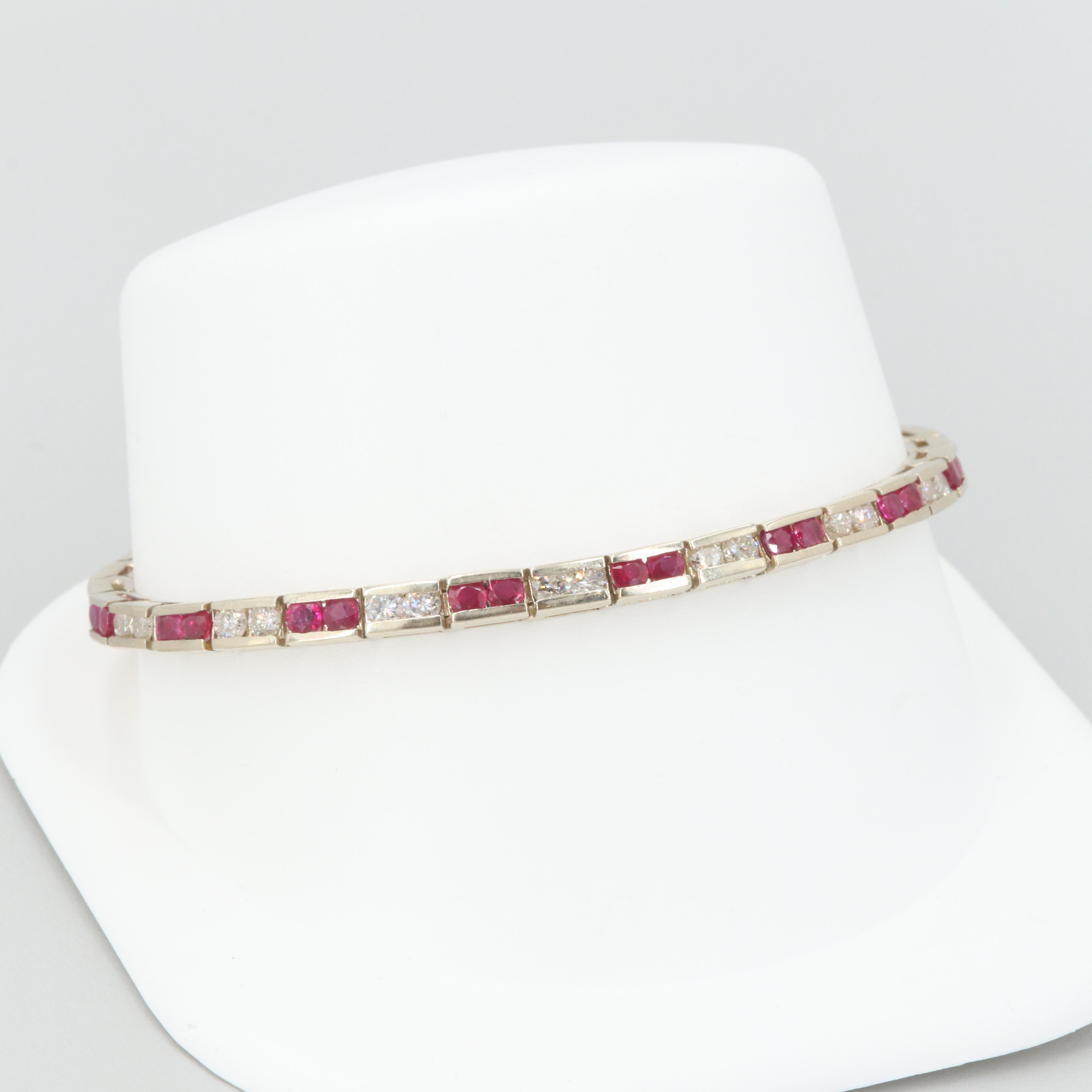 14K Yellow Gold 2.25 CTW Diamond and Ruby Bracelet