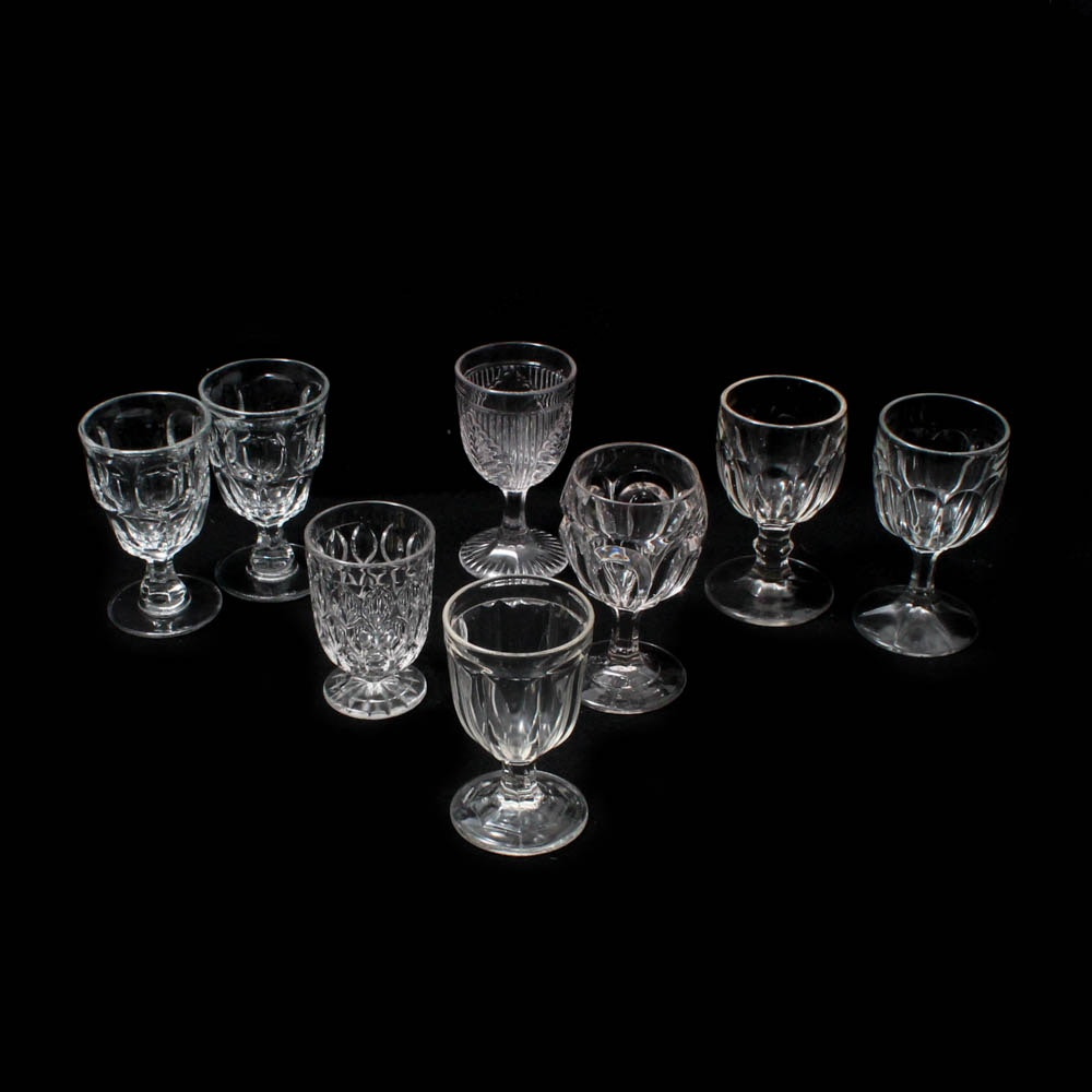 """Early American Pattern Glass Water Goblets Including """"Ribbed Palm"""" and More"""