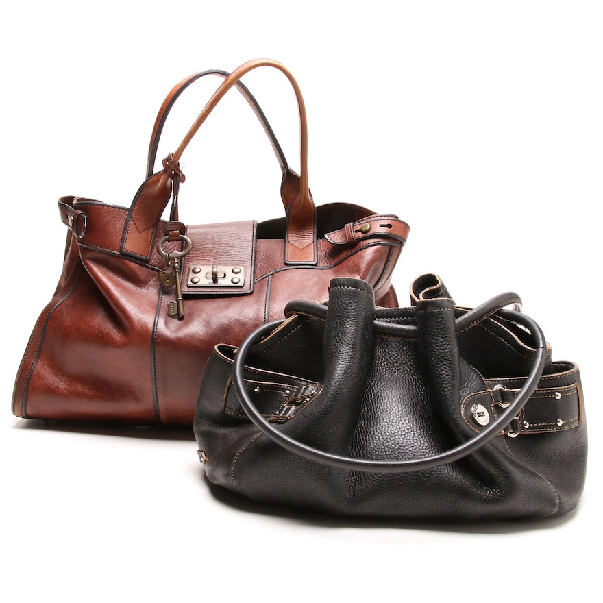 fa40b85703a Fossil and Cole Haan Leather Handbags   EBTH