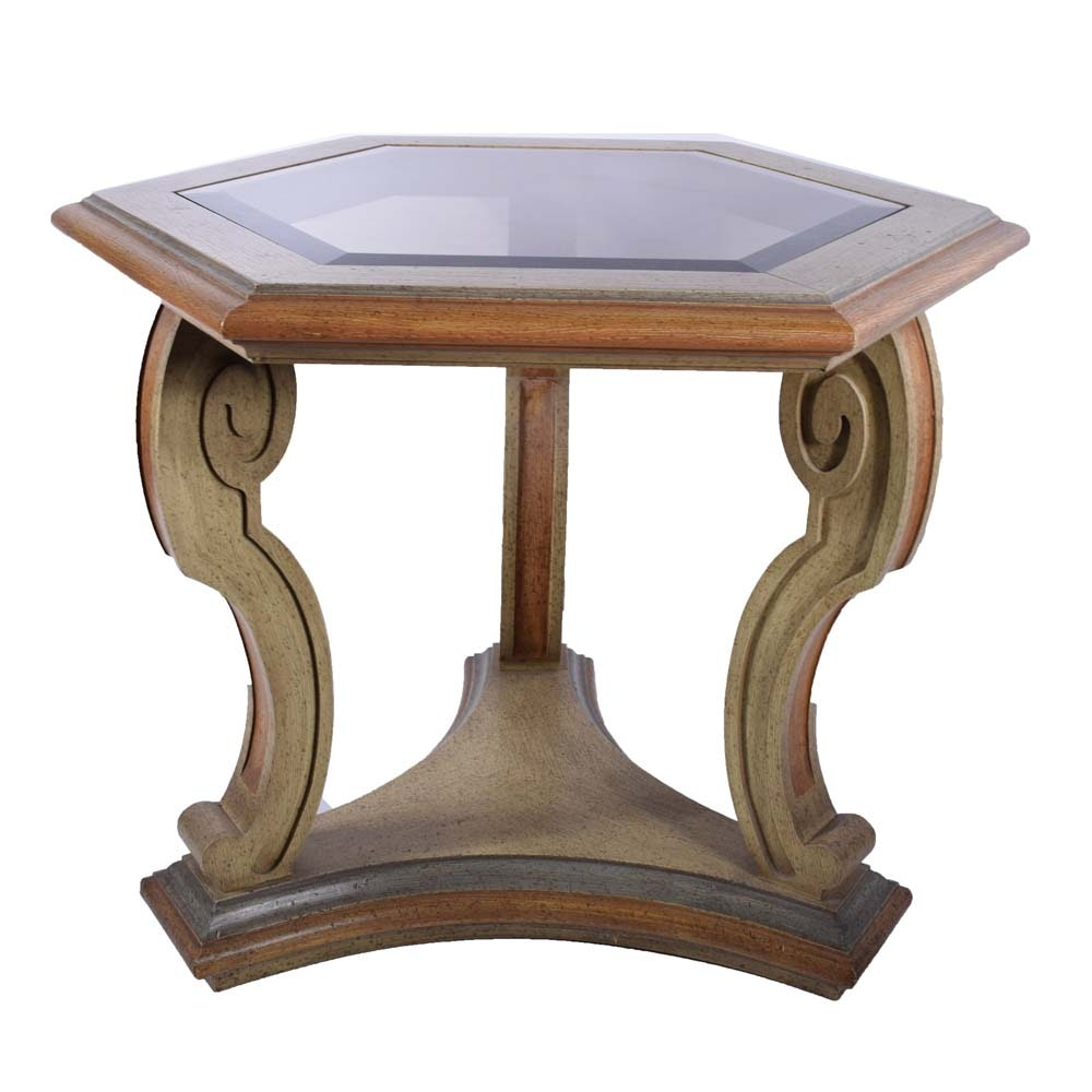 Carved Wood and Beveled Glass Octagonal Accent Table