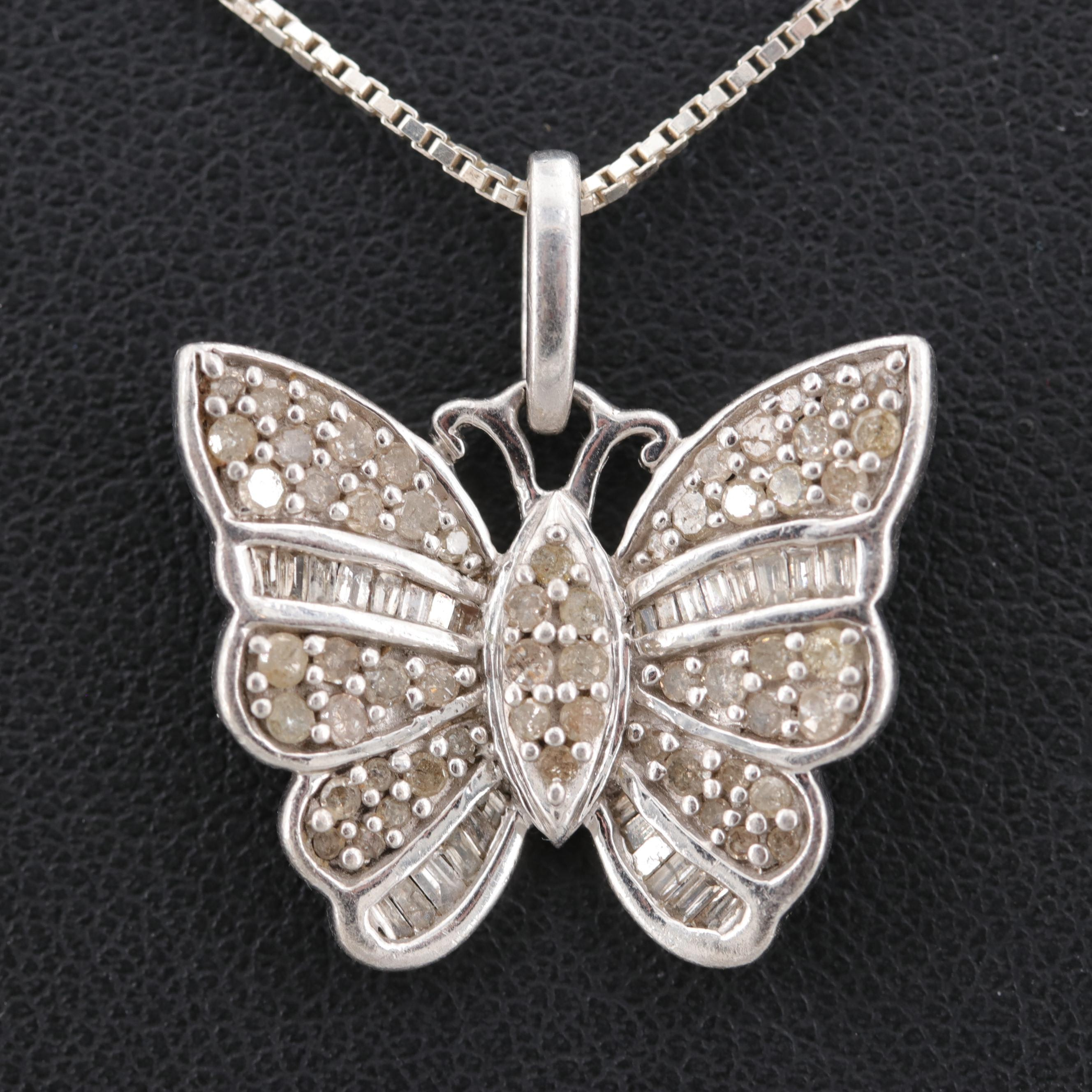 Sterling Silver Diamond Butterfly Necklace