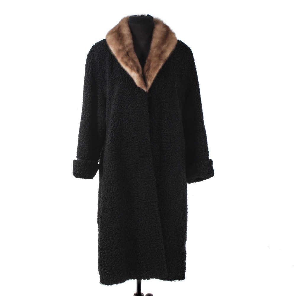 Vintage Black Persian Lamb Fur Coat with Mink Collar from Evans of Chicago