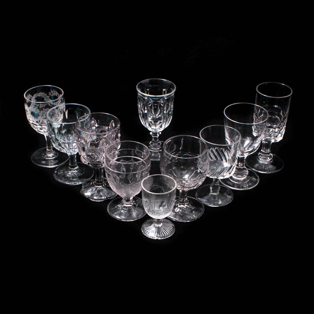 """Early American Pattern Glass Goblets with """"Bigler"""" """"Honeycomb"""" and """"Leaf & Dart"""""""