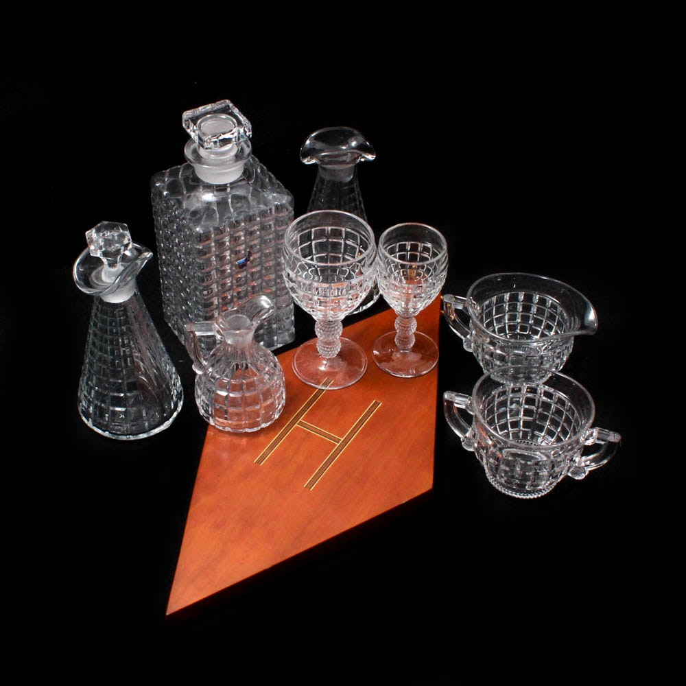 """Heisey """"Victorian"""" Glassware and Inlaid Wood Sign"""