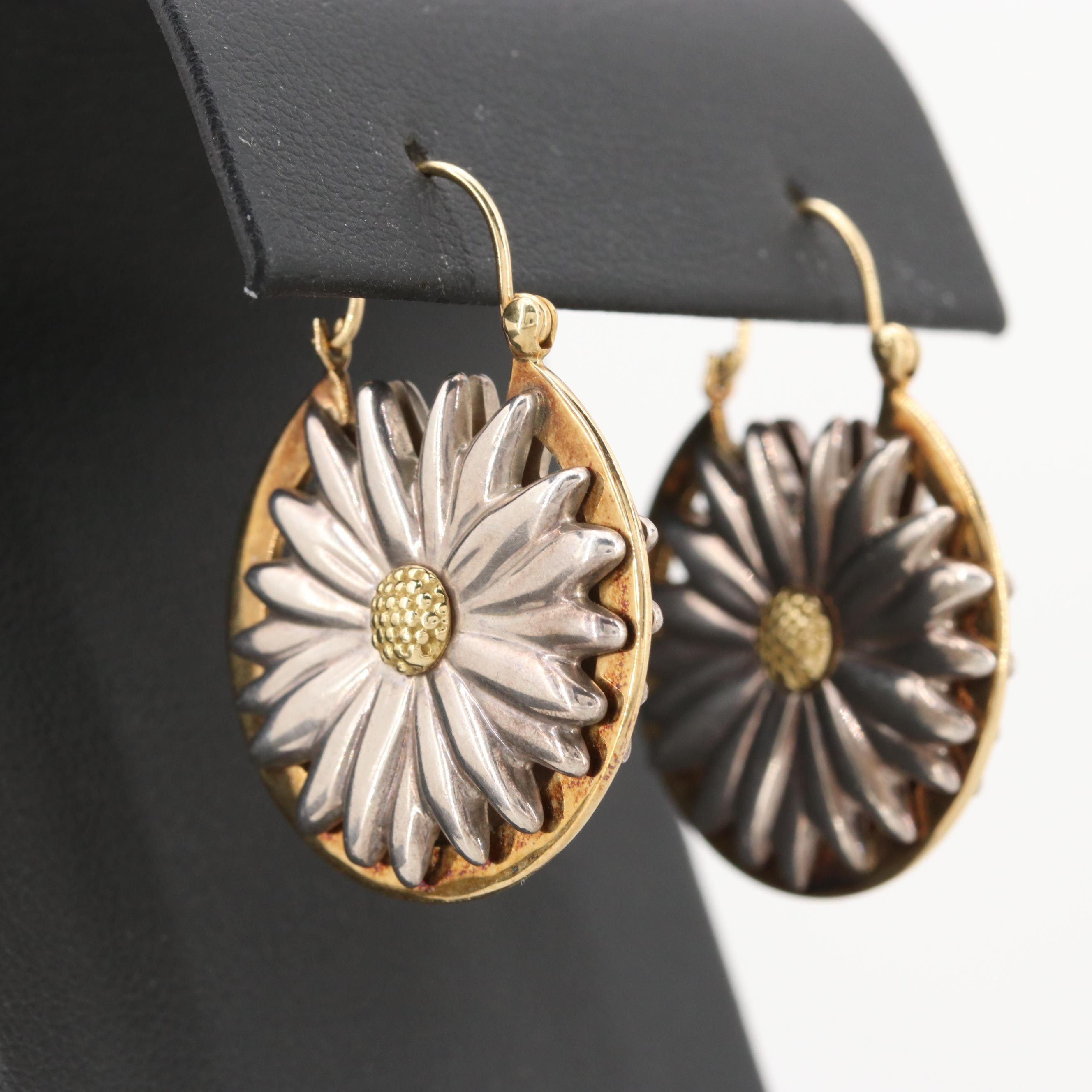 Tiffany & Co. Sterling Silver Earrings with 18K Yellow Gold Accents