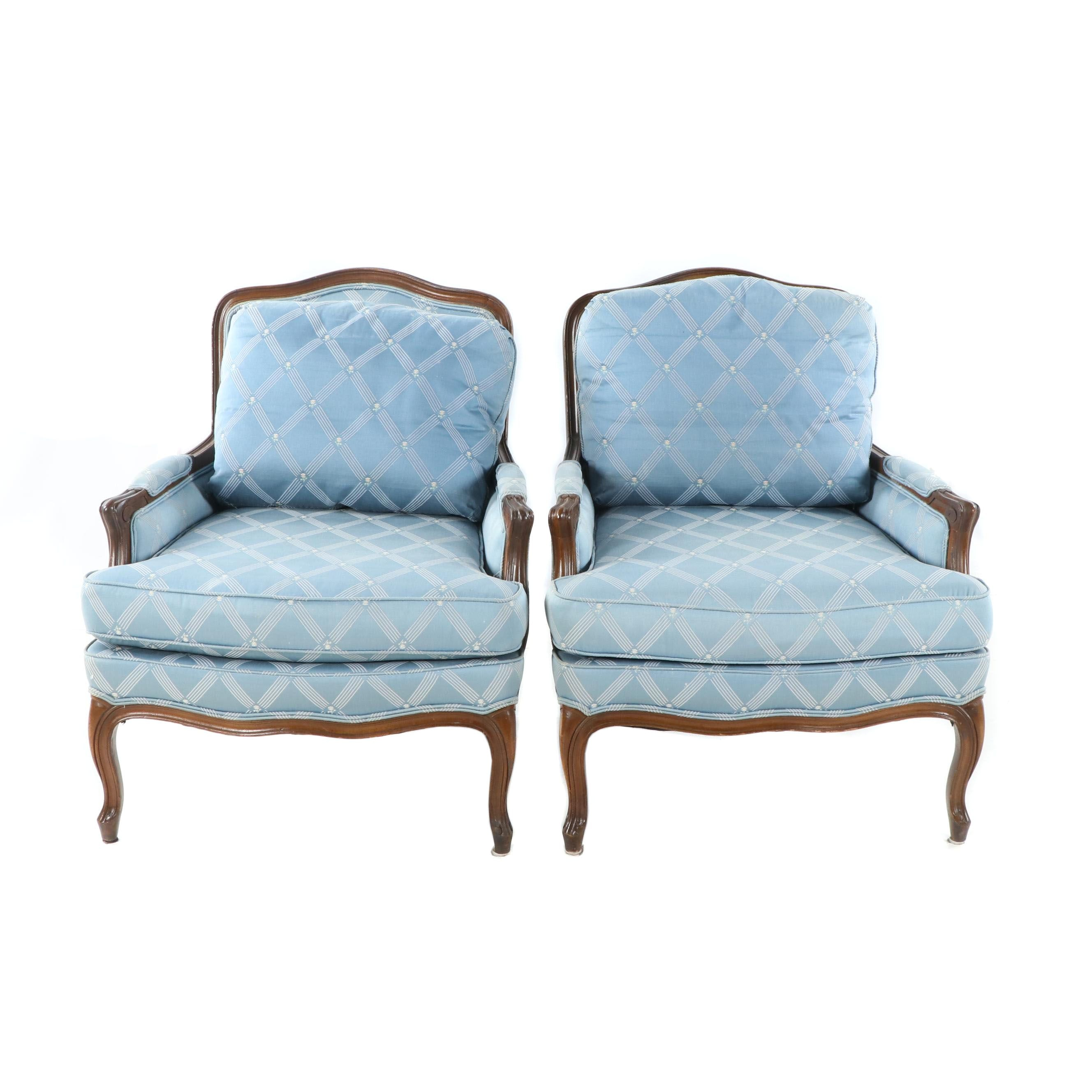 French Provincial Style Upholstered Armchairs by James Sharpe, Late 20th Century