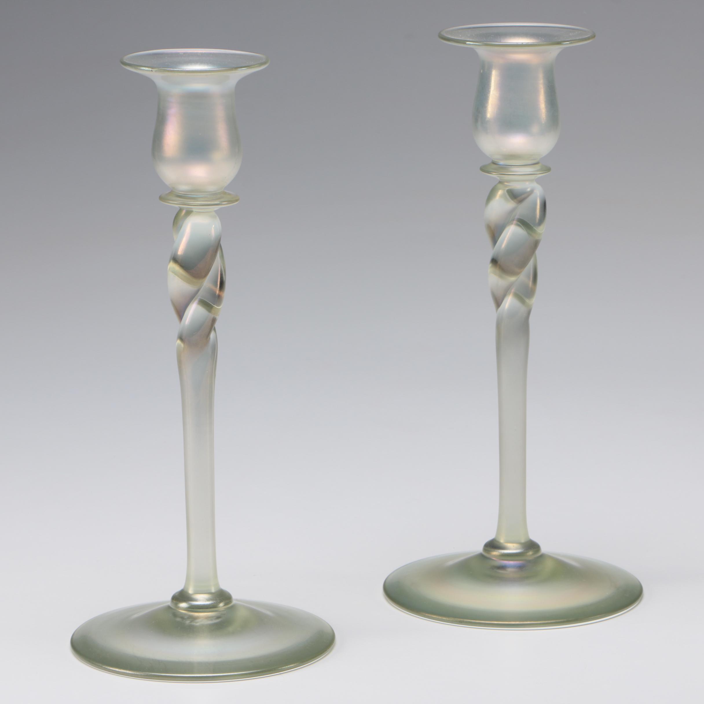 Steuben Aquamarine Art Glass Candlesticks, Early/Mid-Century