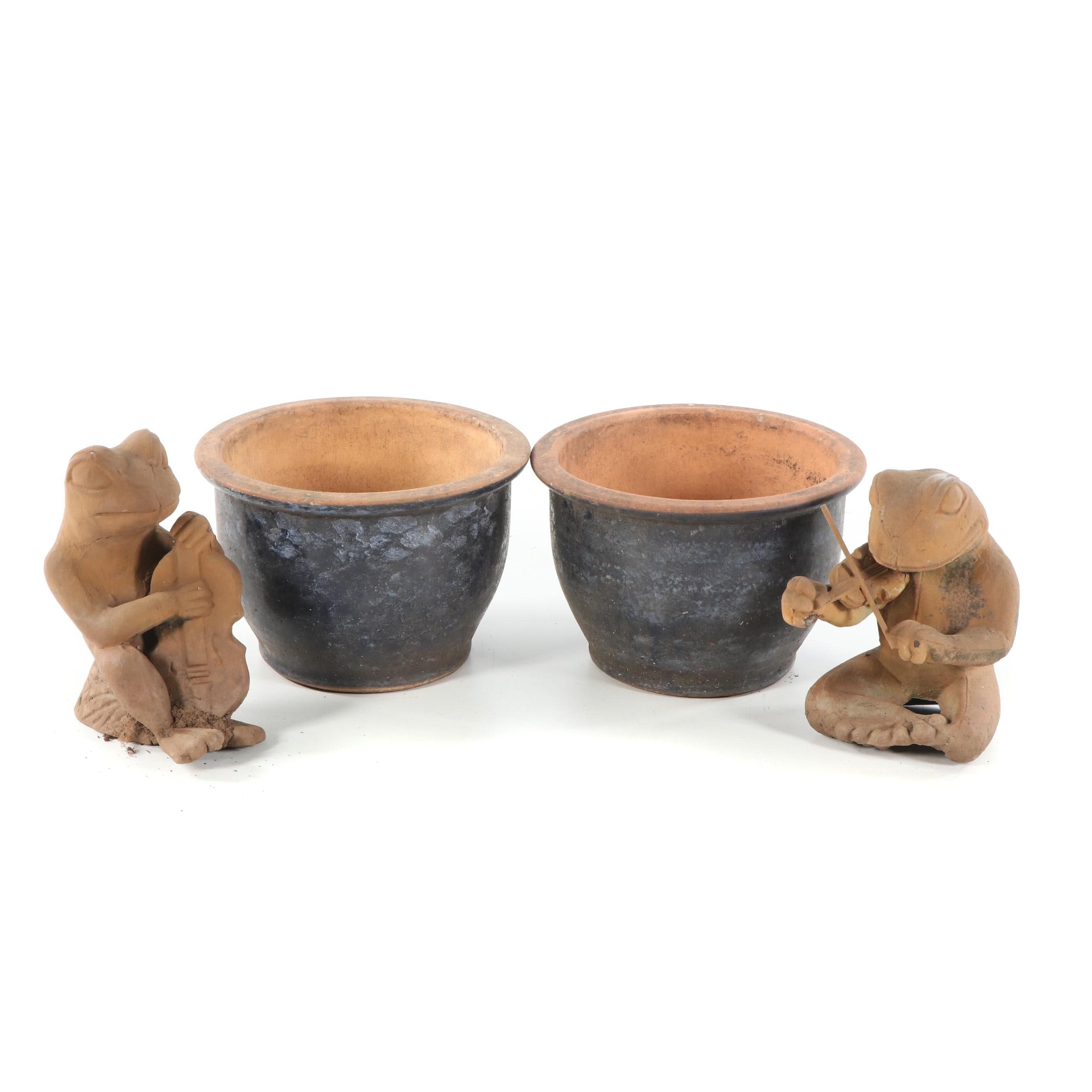 Earthenware Planters and Frog Figurines, Late 20th/21st Century