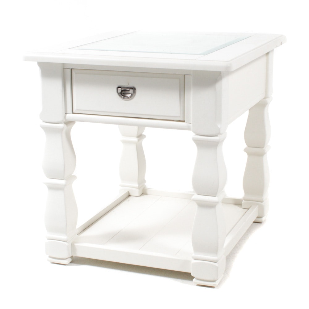 American Signature Glass Top Side Table