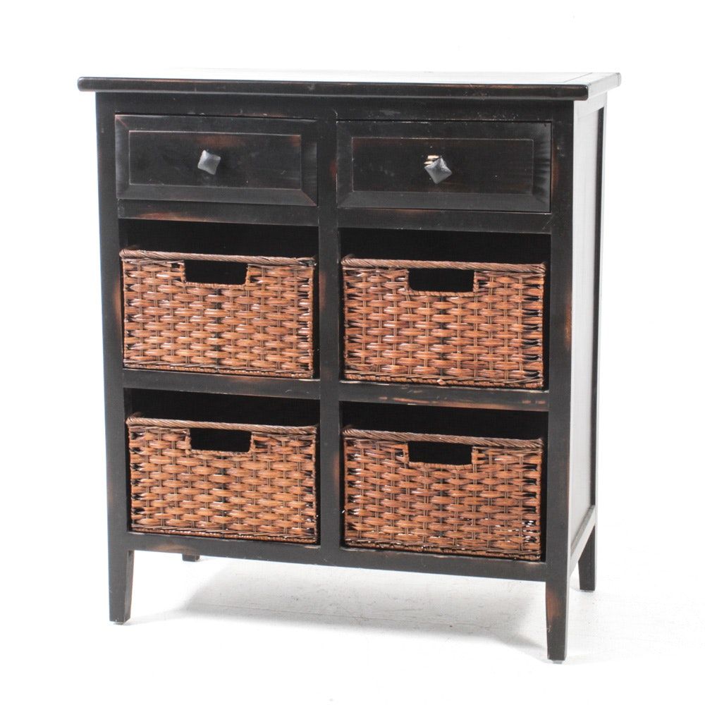 Espresso Finish Chest with Wicker Basket Drawers
