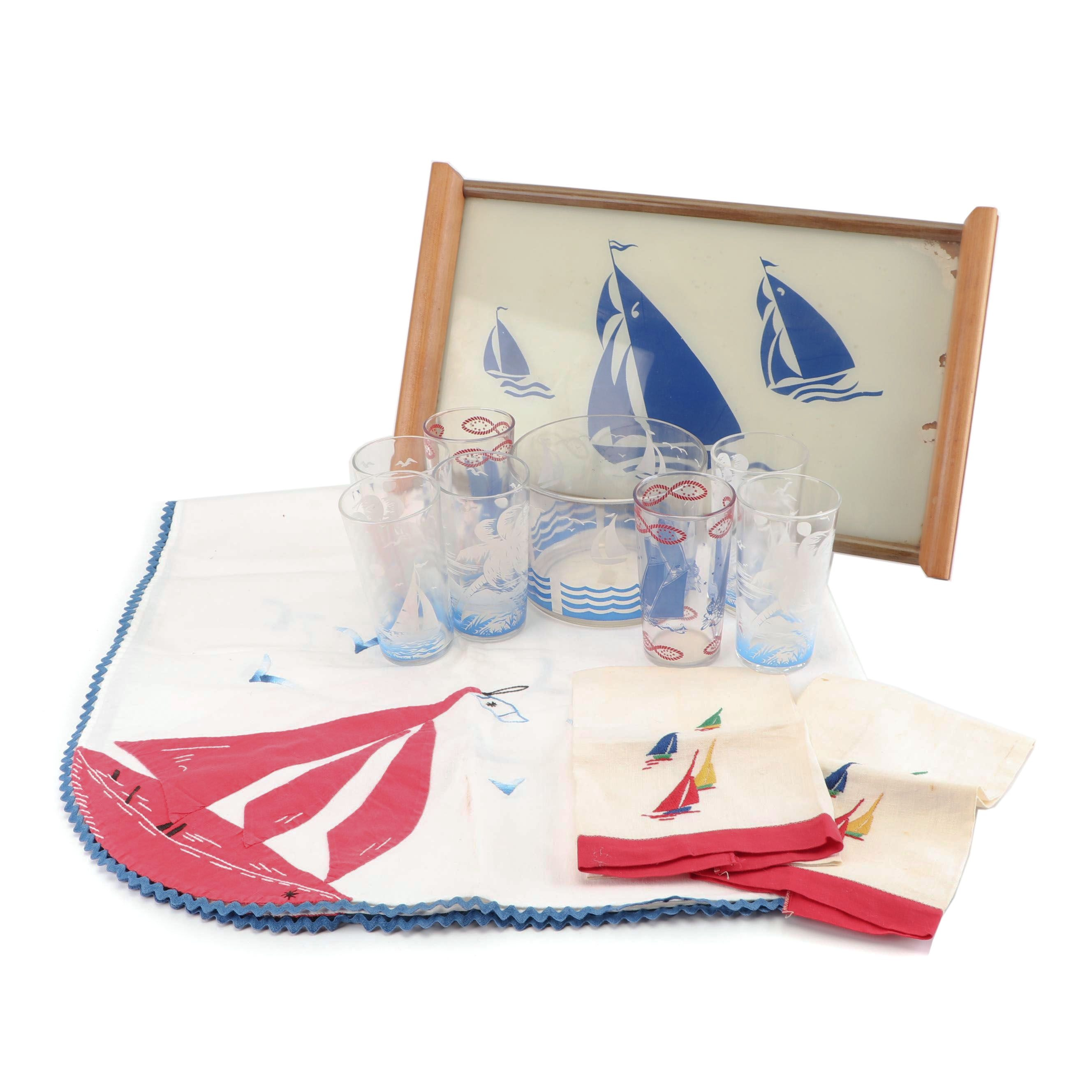 Sailboat Motif Tumbers and Ice Bucket with Linens and Tray, Vintage