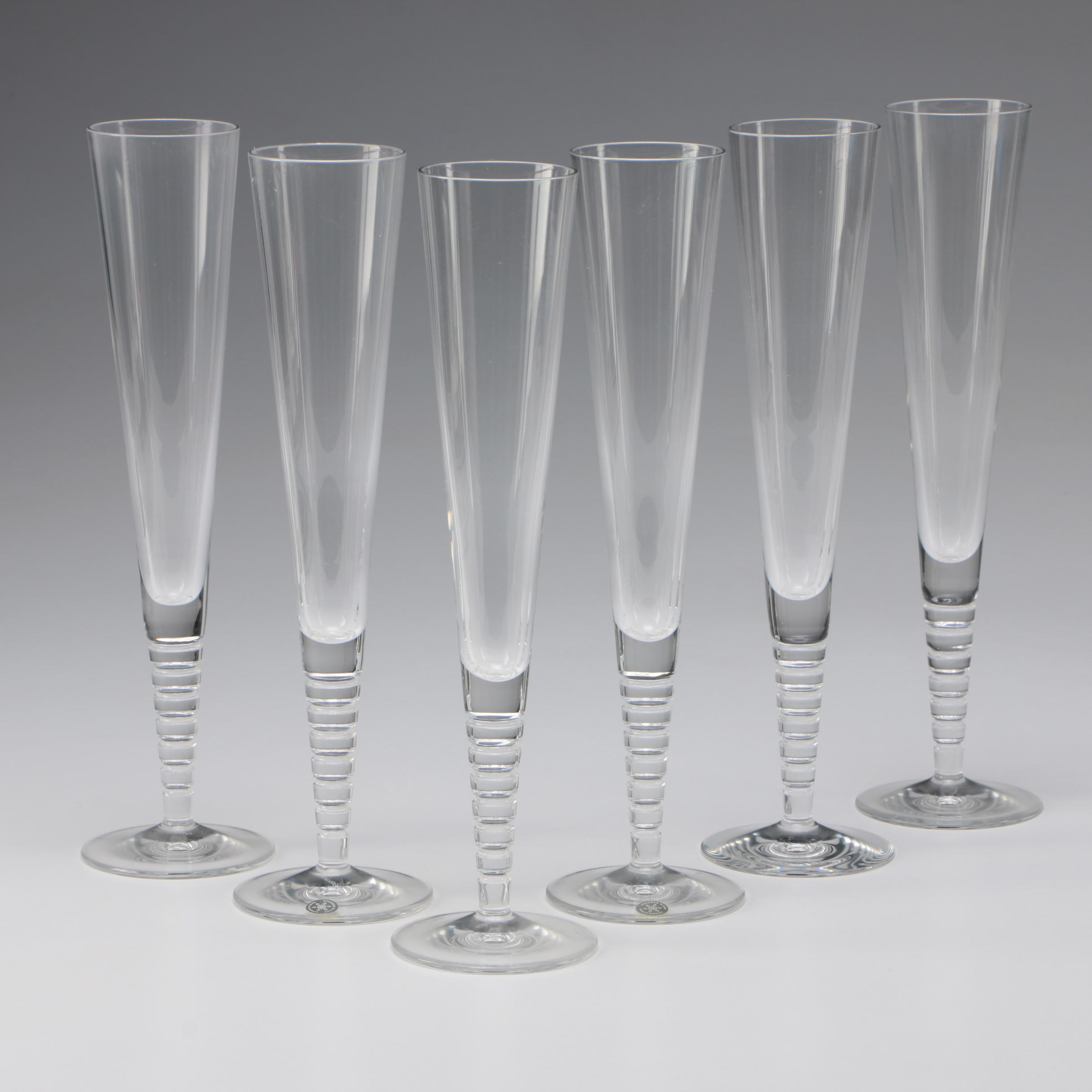 "Steuben ""Evening"" Art Glass Fluted Champagne Glasses by Dante Marioni"