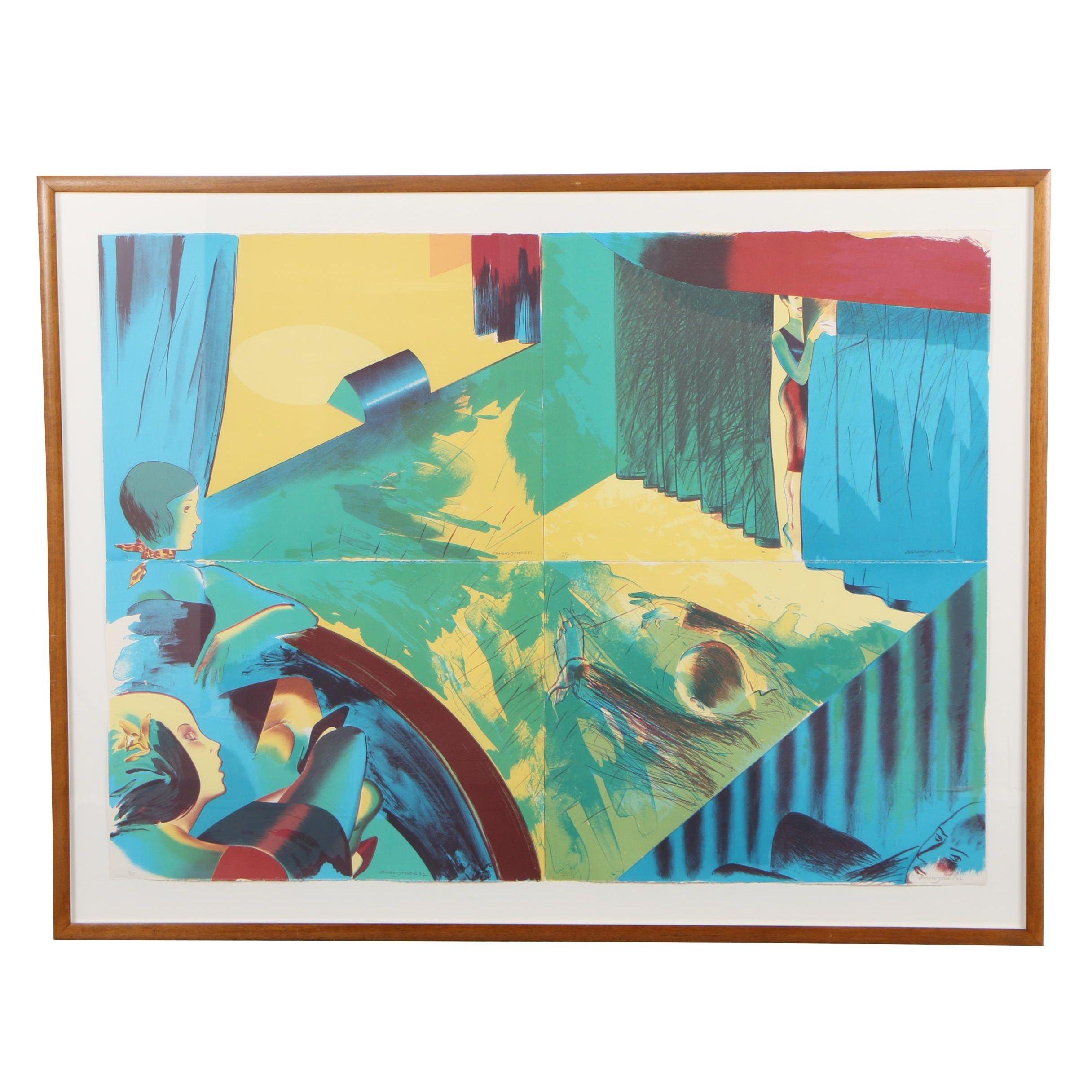"Allen Jones 1982 Monumental Lithograph ""Stage Set"""