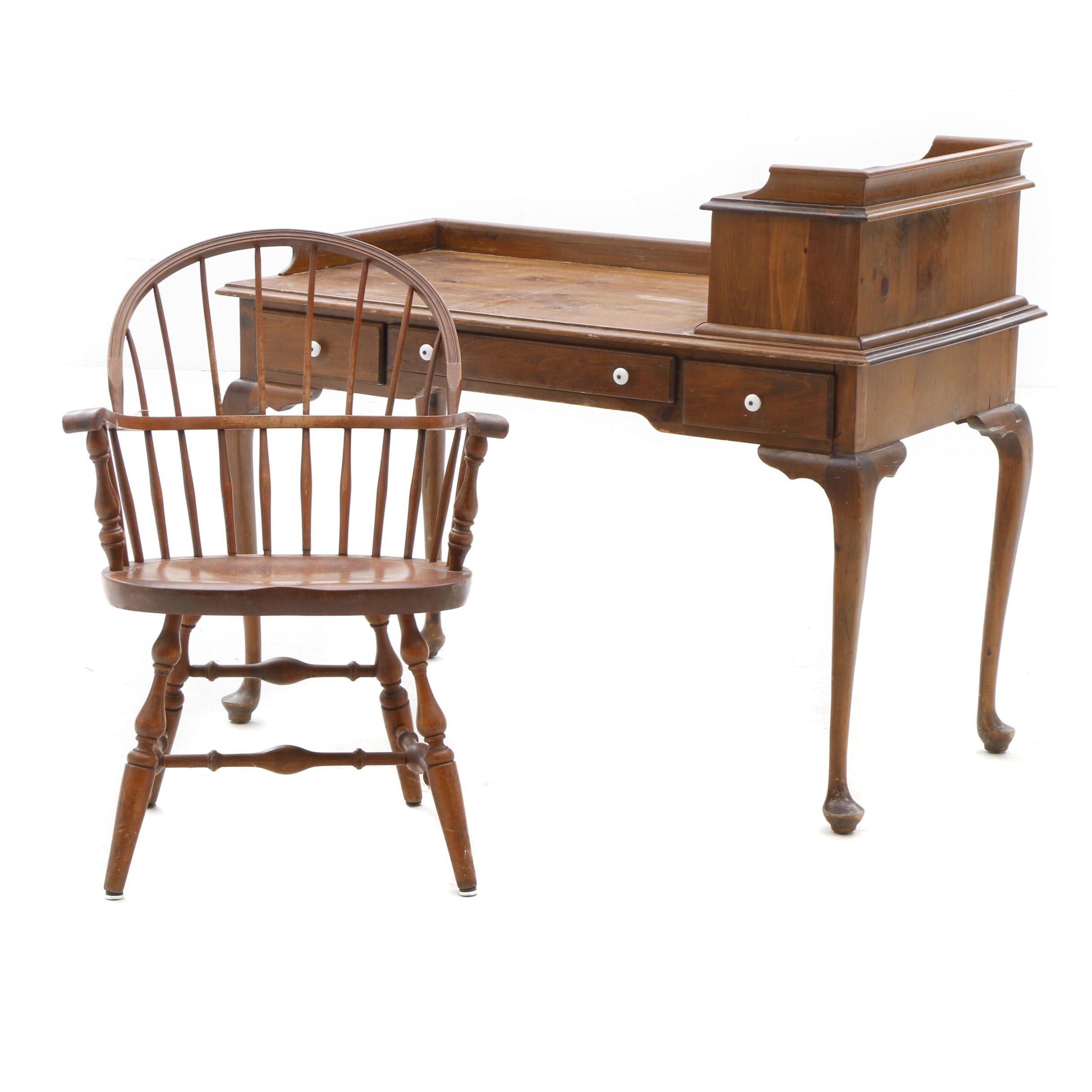 Colonial Style Desk and Windsor Style Chair