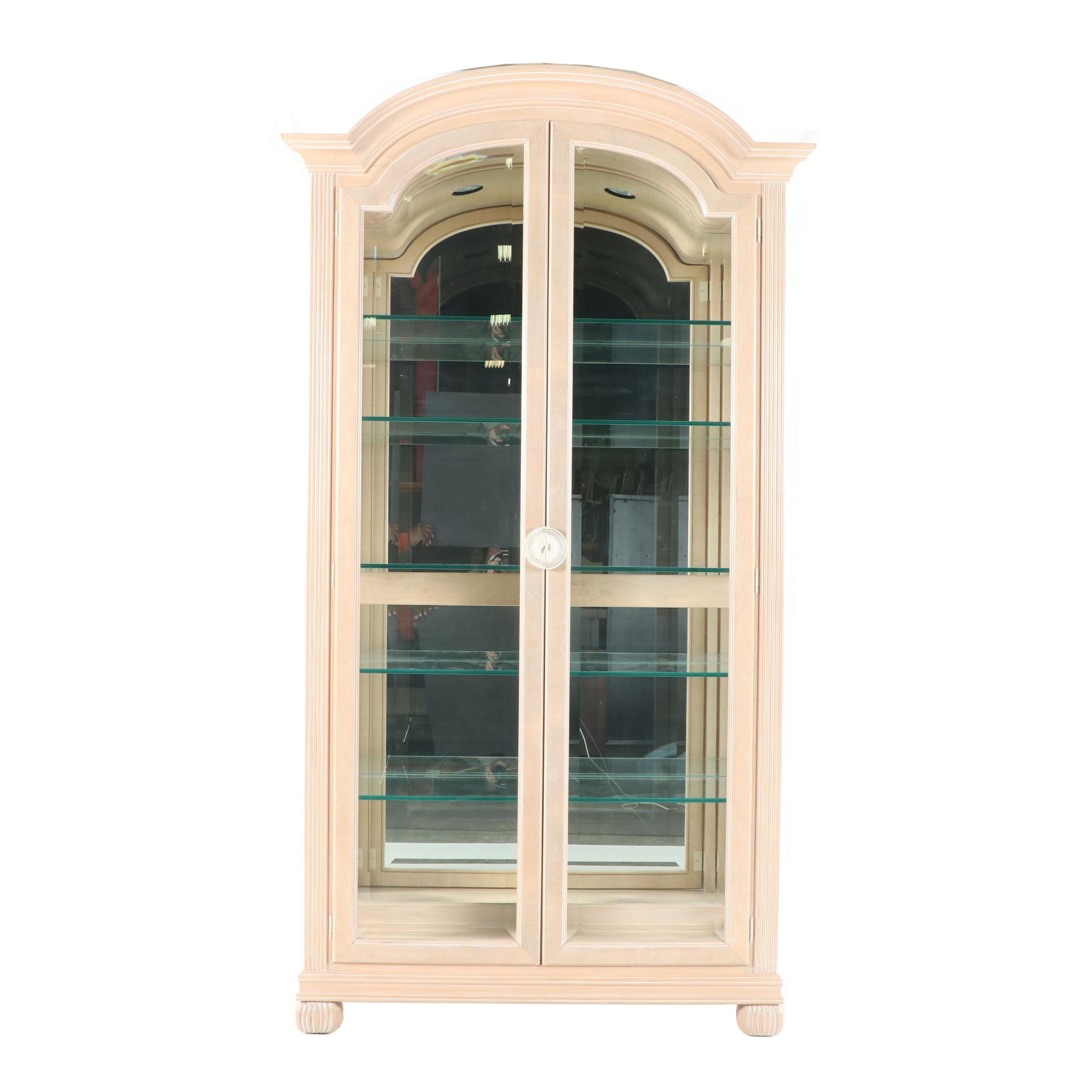 Contemporary Display Cabinet With Pickled Finish