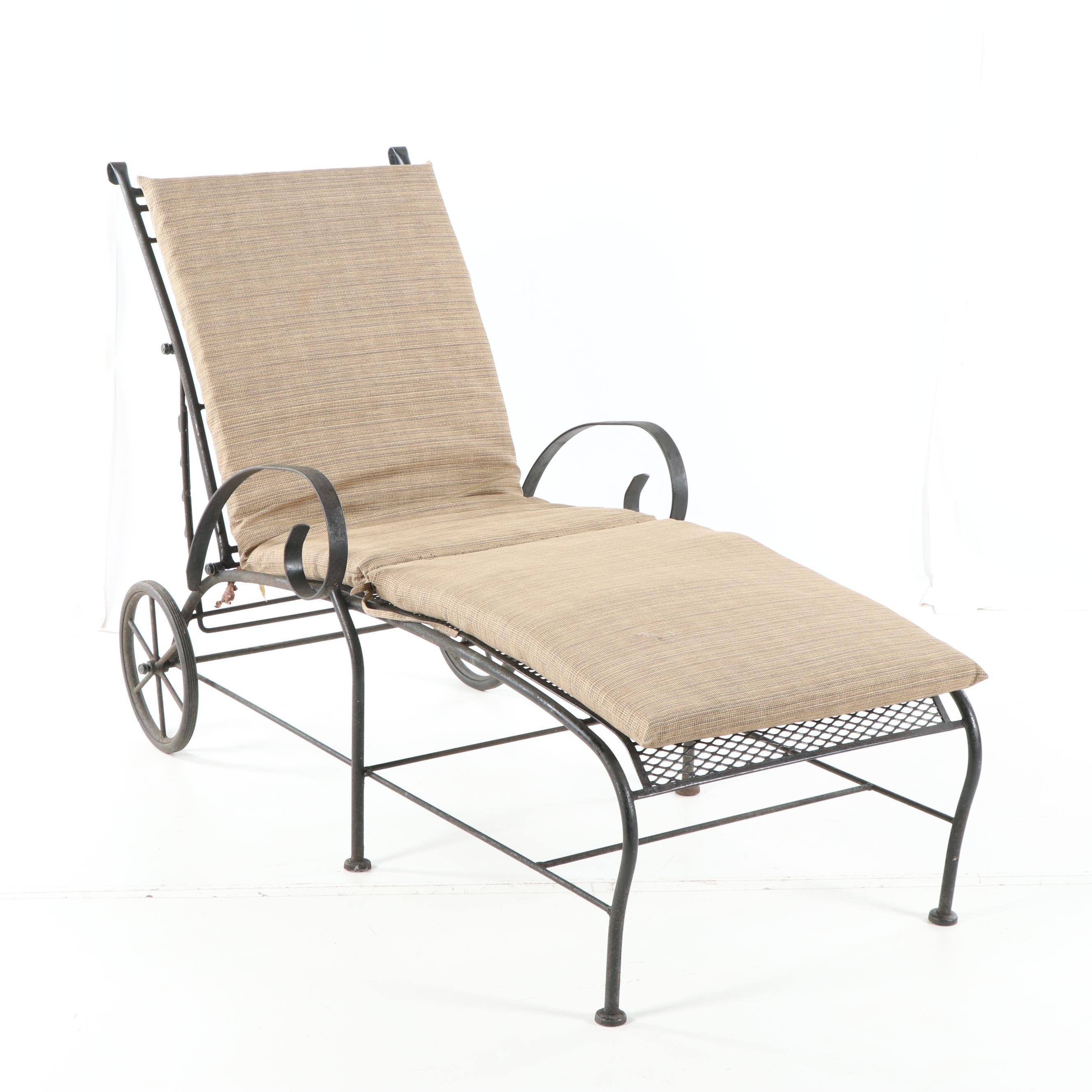 Metal Patio Chaise Lounge with Adjustable Back, 21st Century