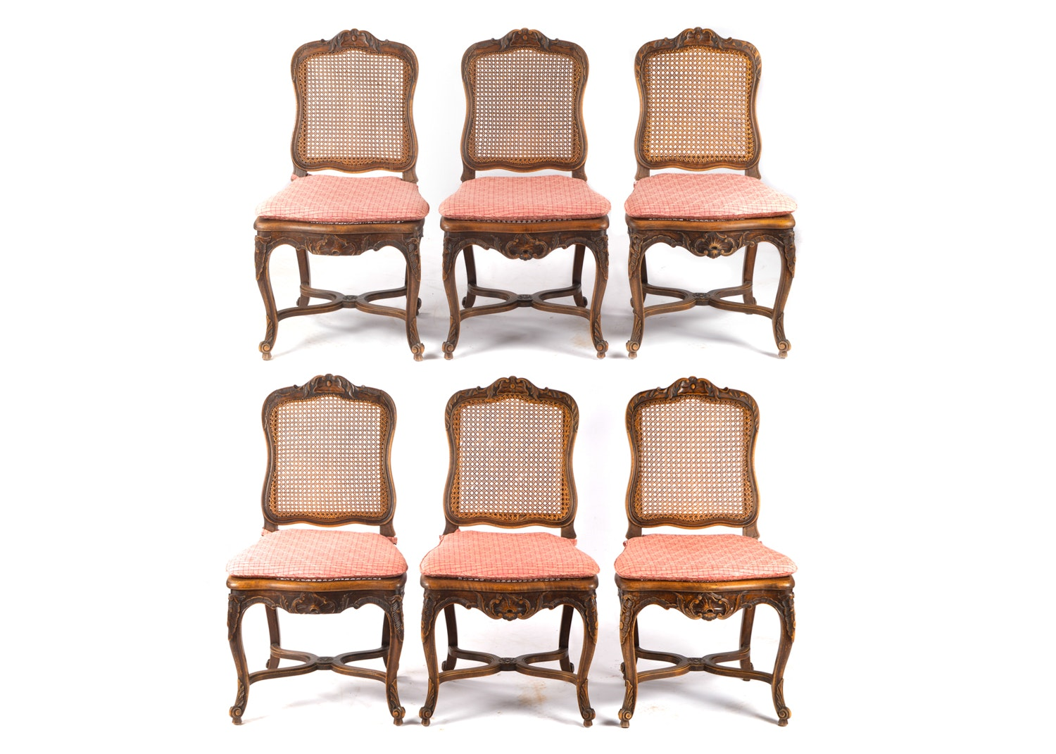 French Provincial Style Cane Panel Side Chairs with Cushions, Late 20th Century