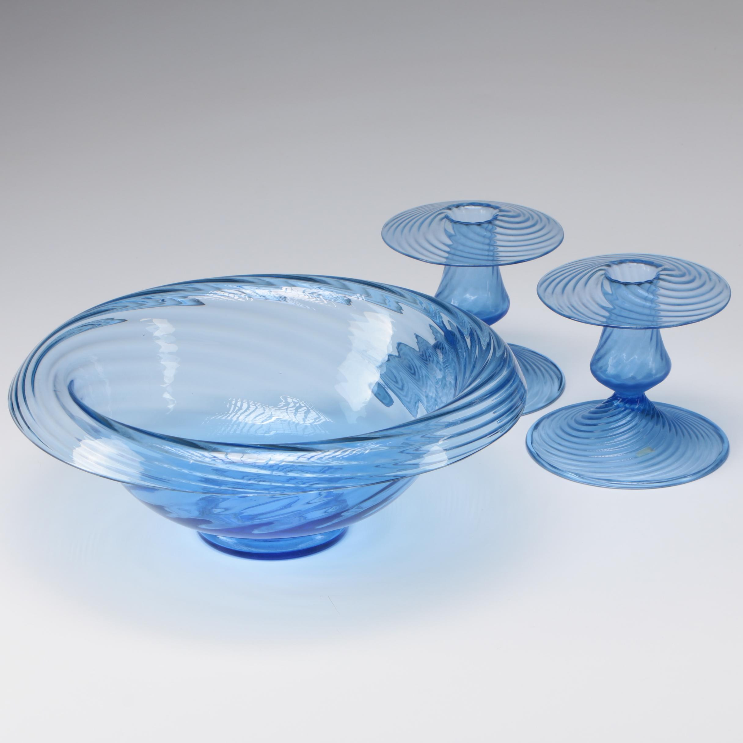 Steuben Celeste Blue Art Glass Console Bowl with Candlesticks, Early/Mid-Century