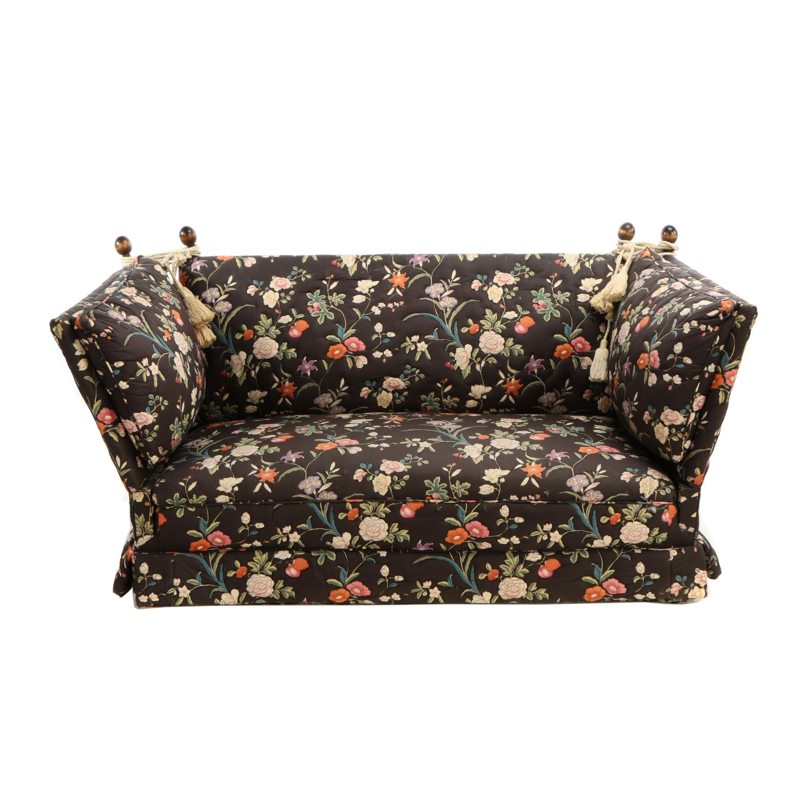 Knole Style Floral-Upholstered Loveseat, 20th Century