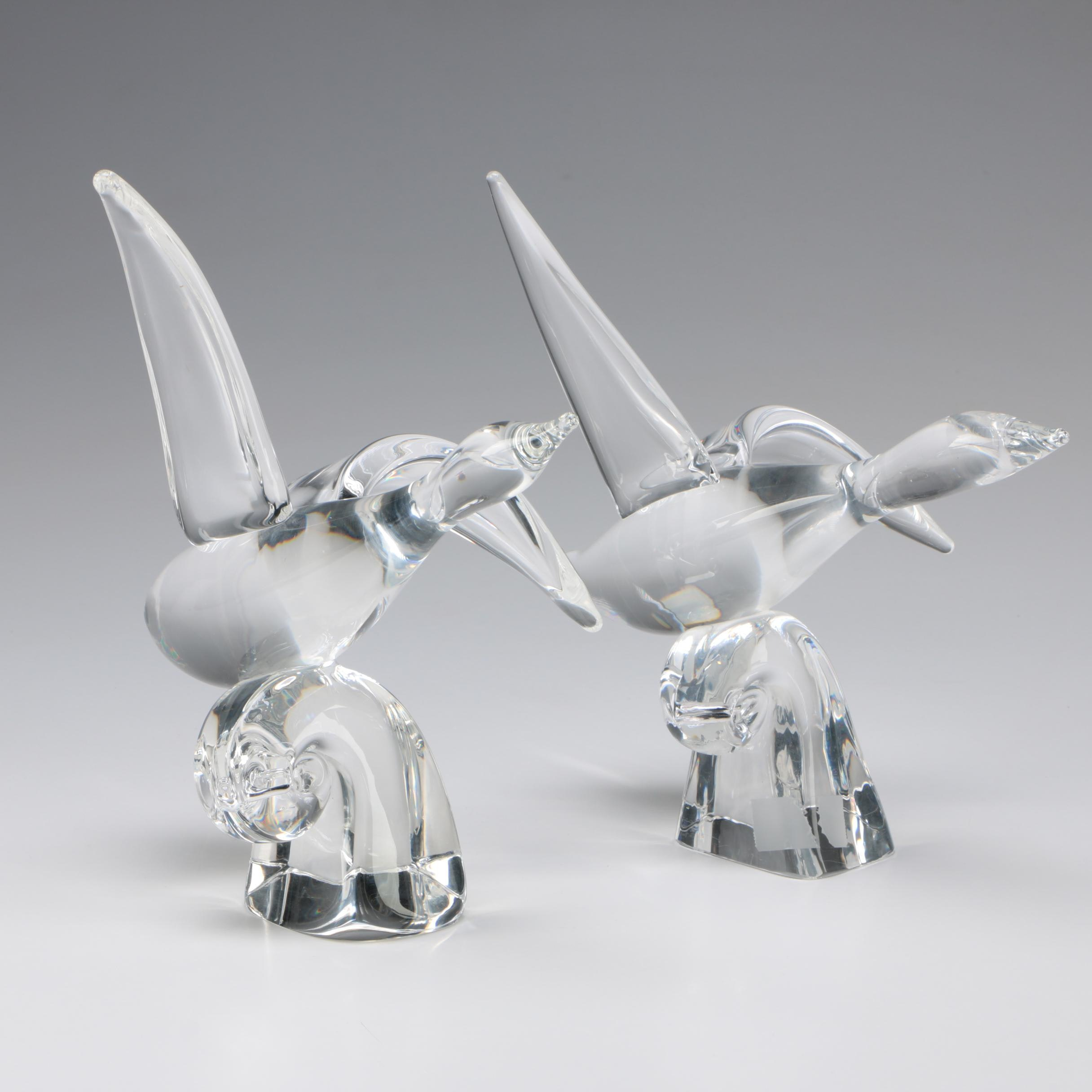 "Pair of Steuben Art Glass ""Water Bird"" Figurines by Lloyd Atkins, Mid-Century"