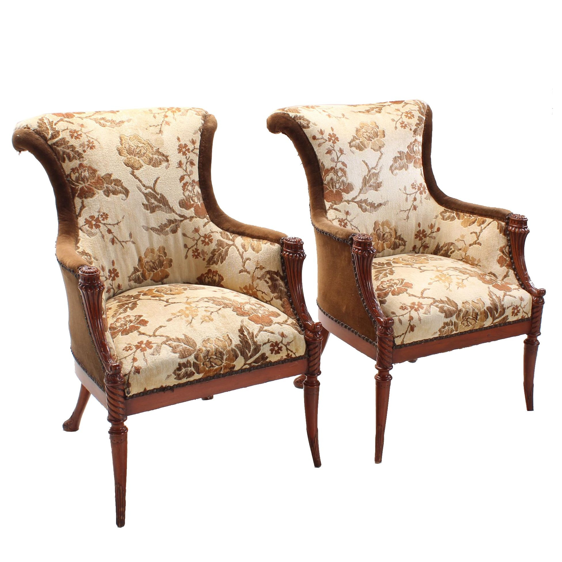 Pair of Neoclassical Style Mahogany-Stained Bergères, 20th Century