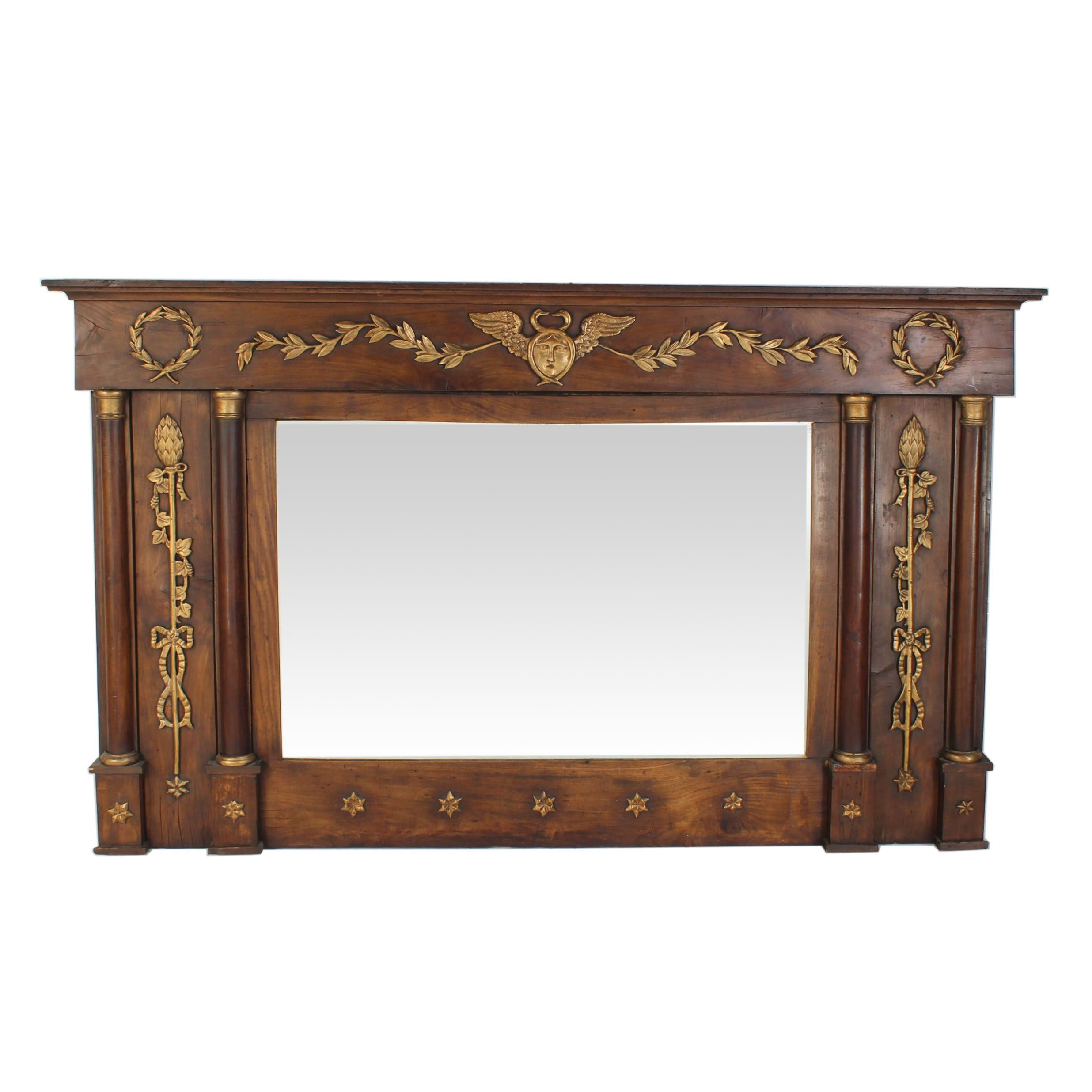 Neoclassical Style Walnut and Parcel-Gilt Overmantel Mirror, 19th Century