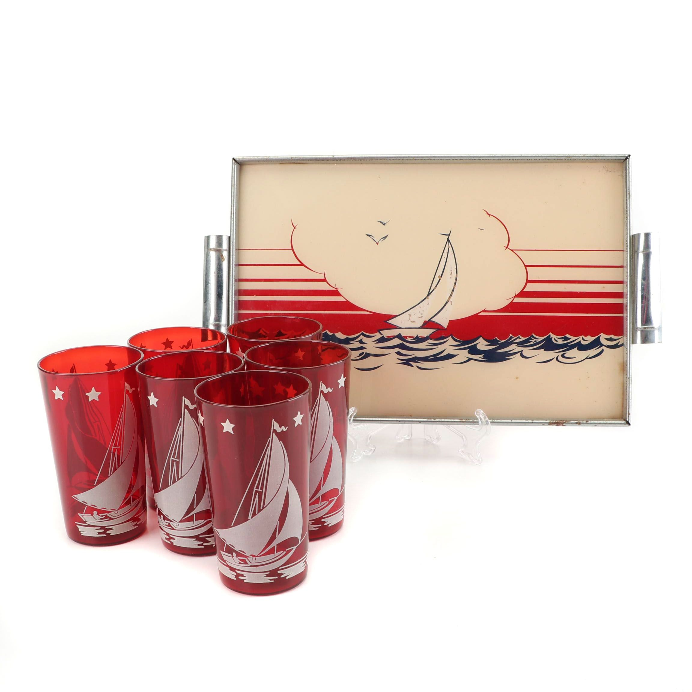 "Hazel-Atlas Red ""Ships"" Glass Tumblers with Colombia Chrome Tray"