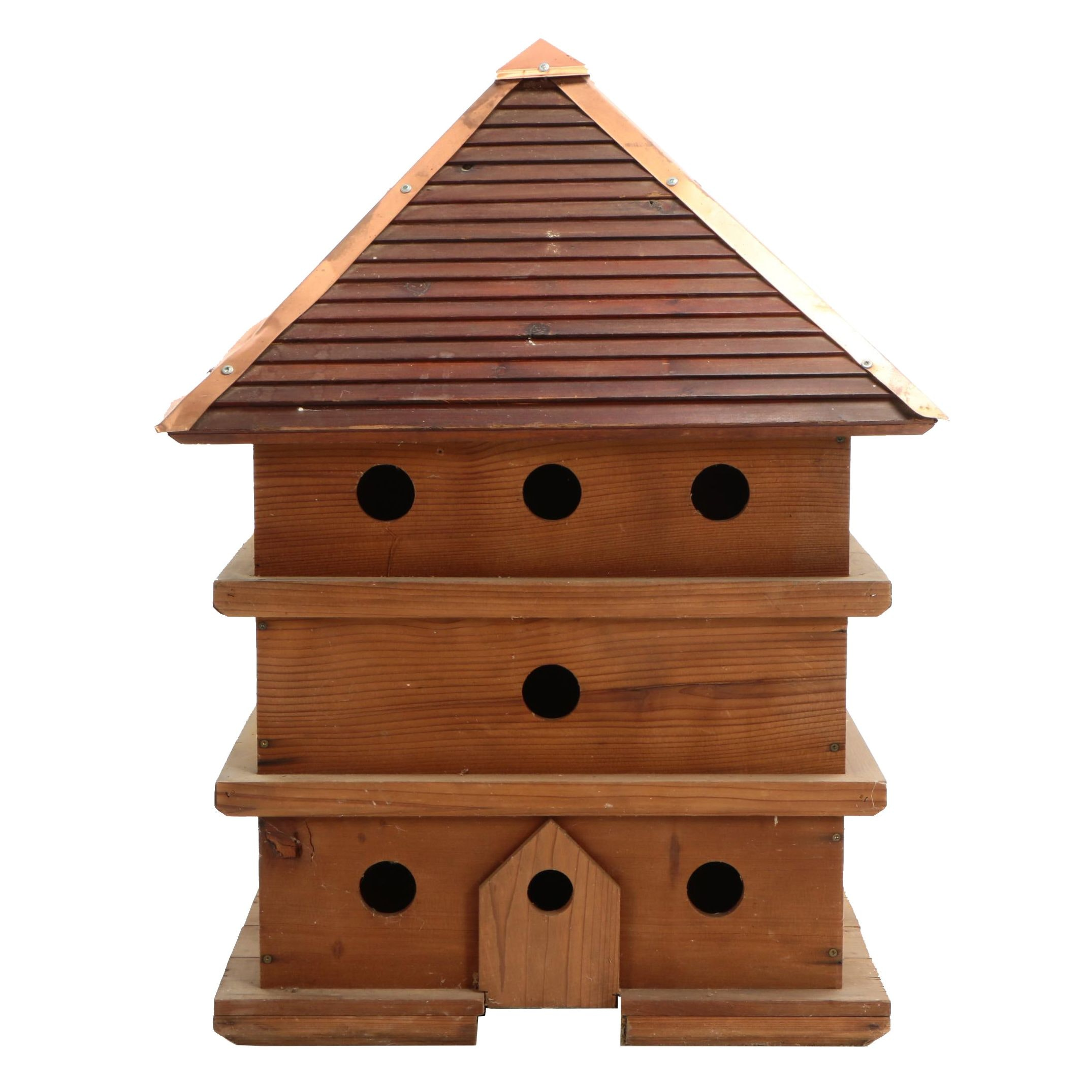 Contemporary Copper-Mounted Pine Three-Tier Birdhouse