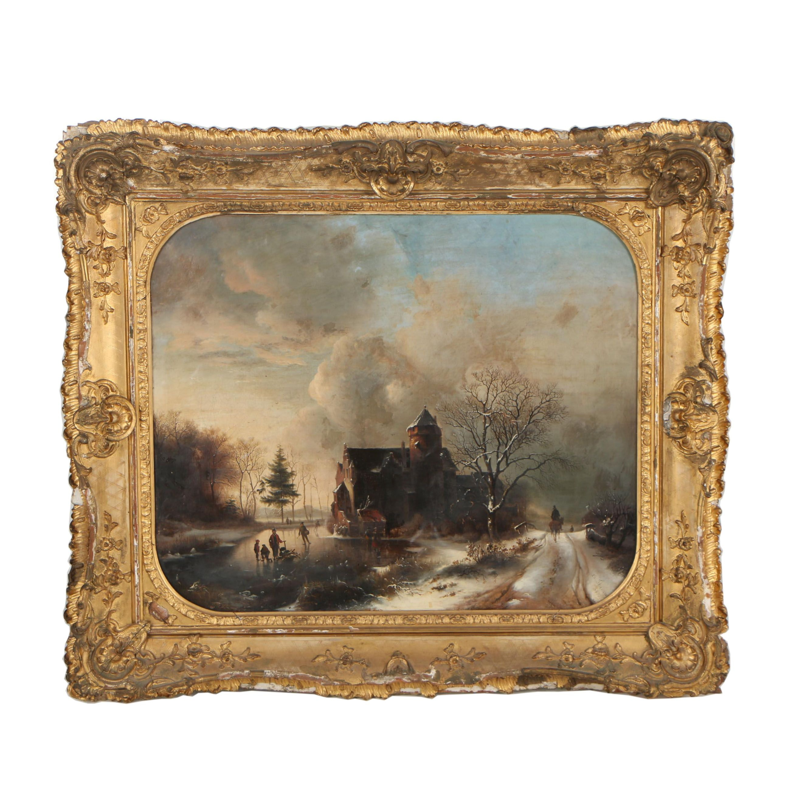 "Charles Themmen 1855 Oil Painting ""Winter Pastime"""