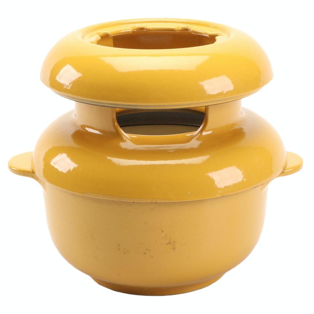 Yellow Enamel Fondue Pot
