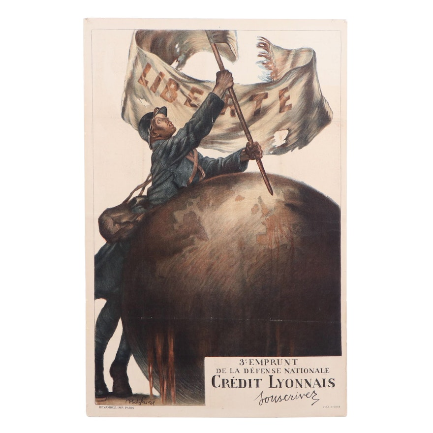 Credit Lyonnais WWI Poster Designed by Abel Faivre, Early 20th Century