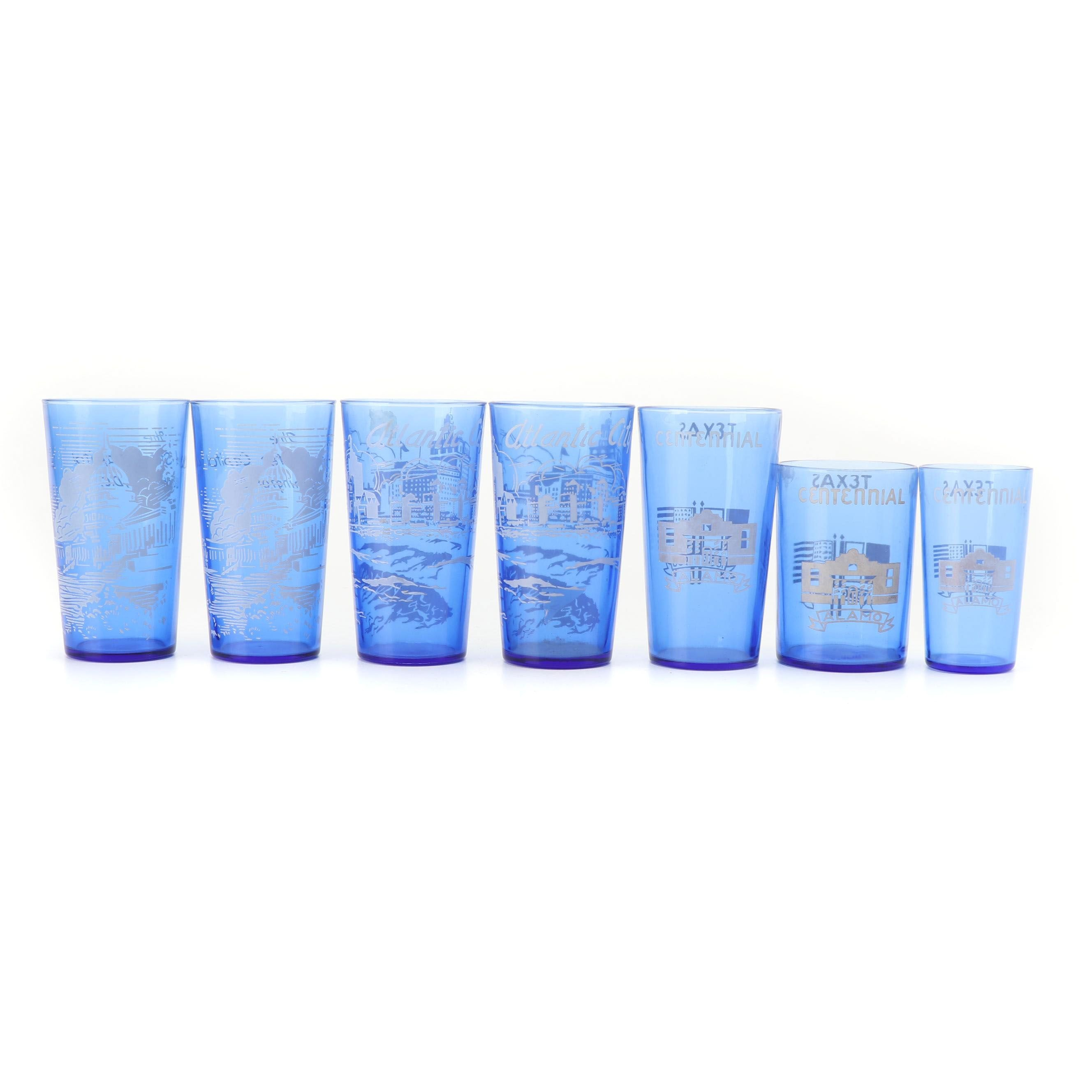 "Hazel-Atlas ""Texas Centennial"" and ""Atlantic City"" Tumblers with Other Glassware"