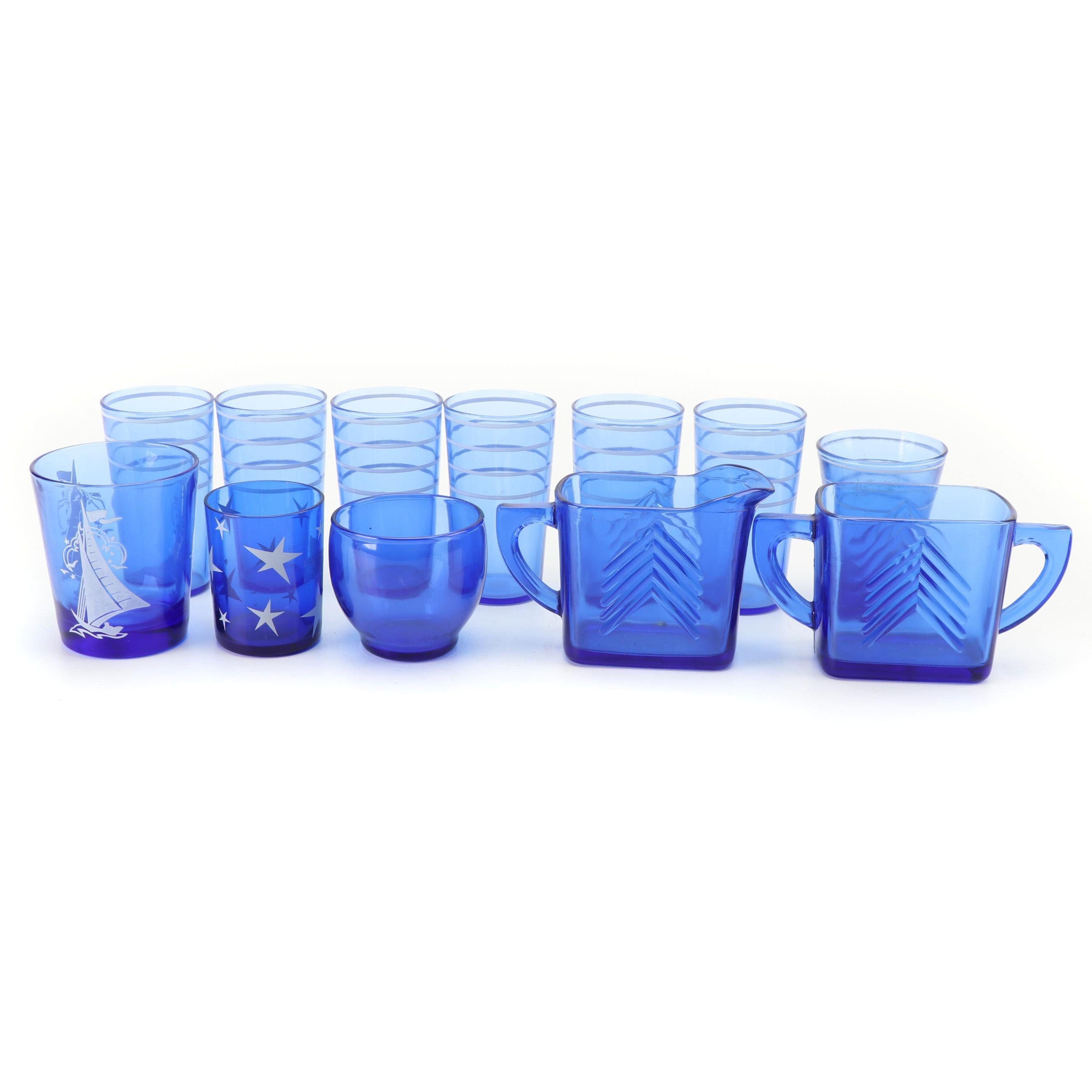 Hazel-Atlas Blue Glassware, Mid-Century