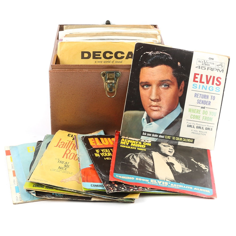 Elvis Presley 45 RPM Records in Carrying Case