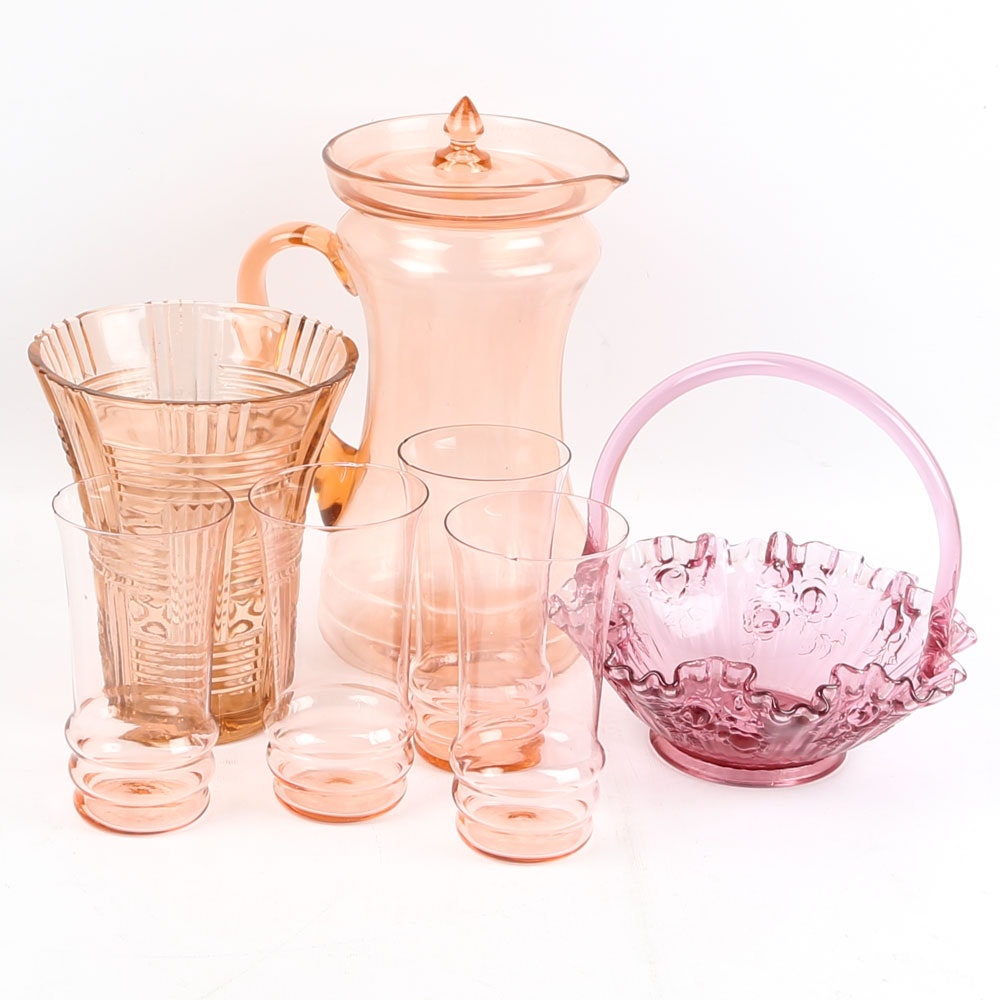 Pink Depression Glass with Fenton Style Basket