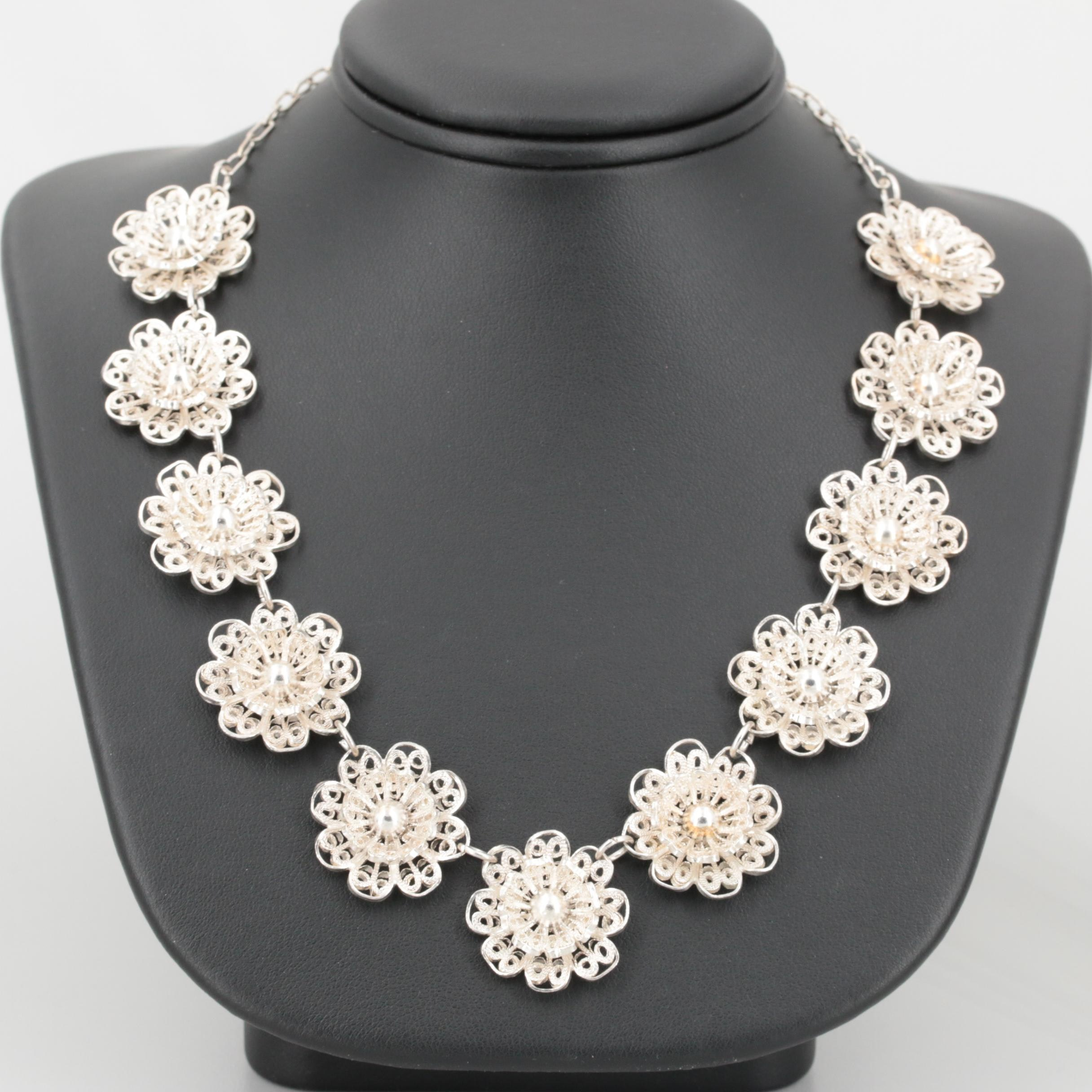 Sterling Silver Filigree Floral Motif Necklace