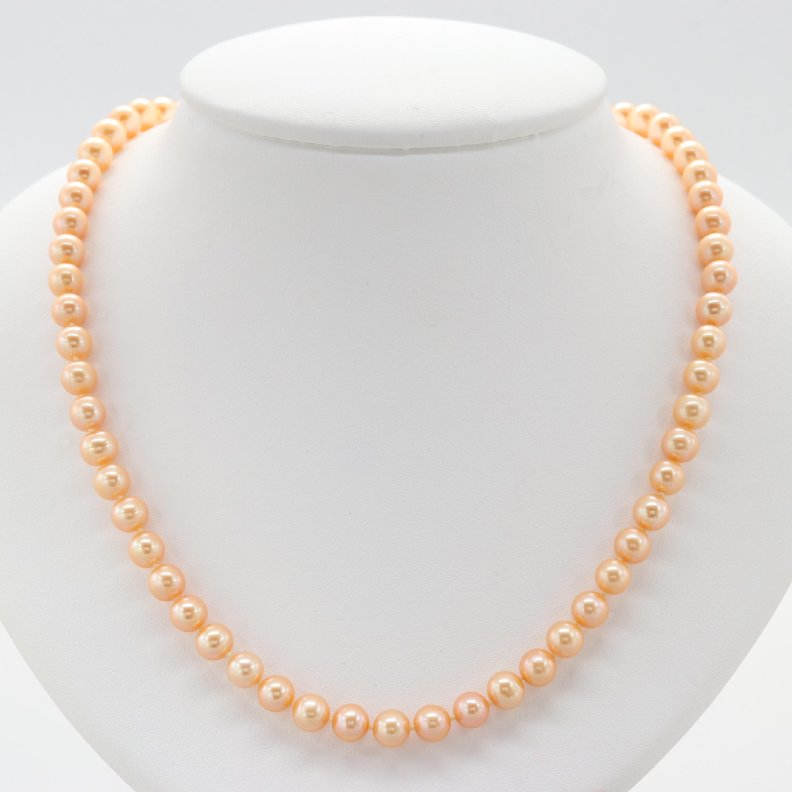 14K Yellow Gold Clasped Freshwater Cultured Pearl Necklace