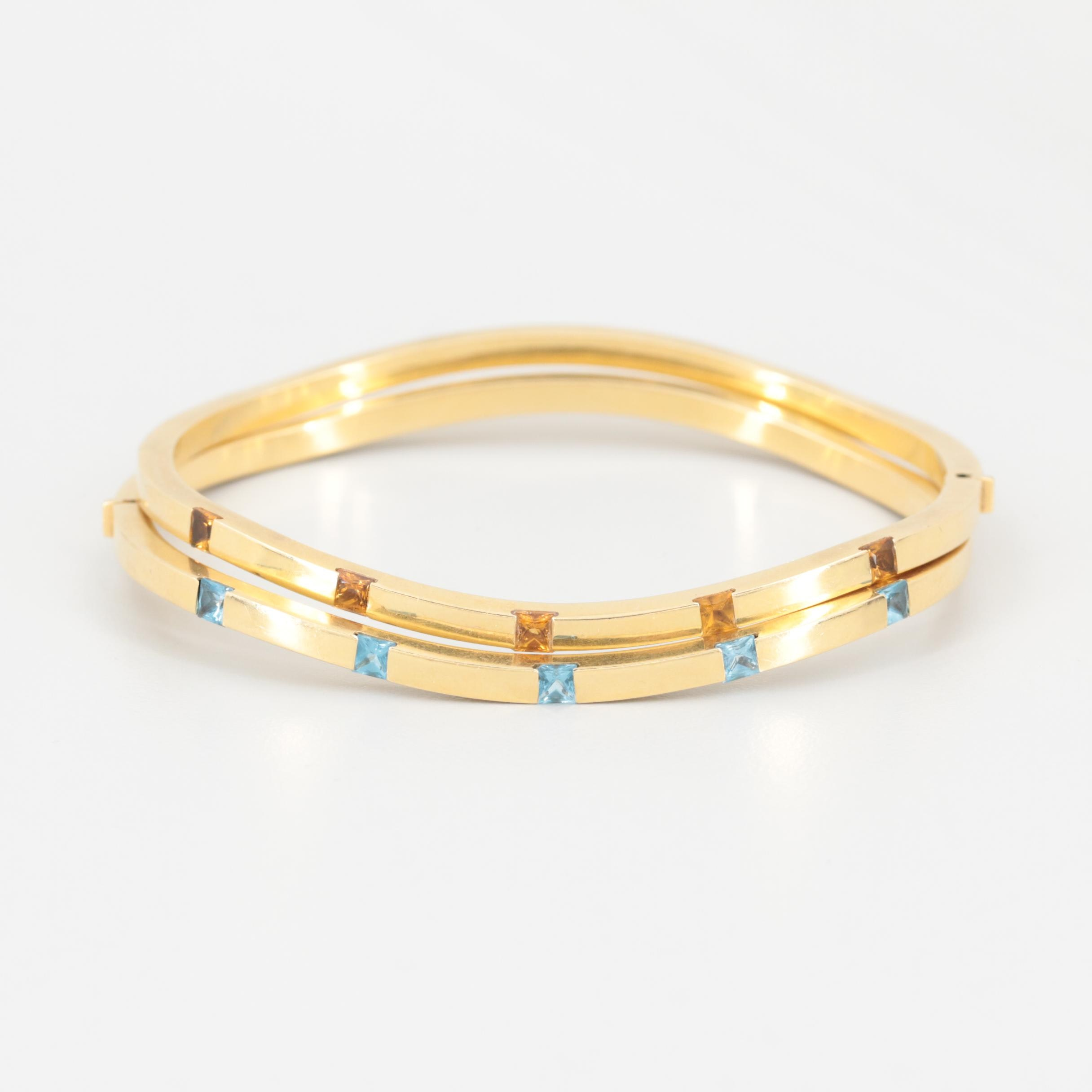 18K Yellow Gold Citrine and Topaz Stackable Hinged Bangle Bracelets