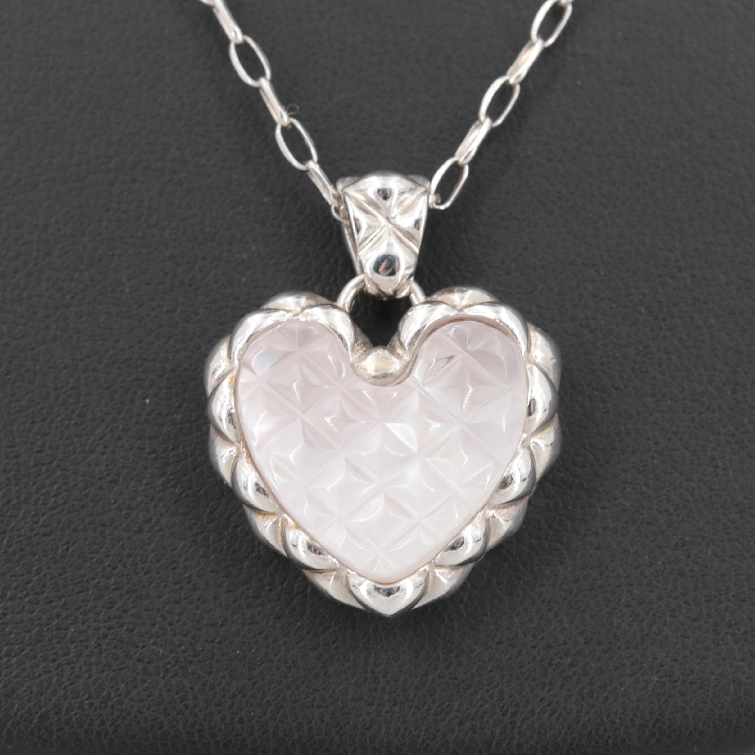 Sterling Silver Quartz and Mother of Pearl Heart Necklace