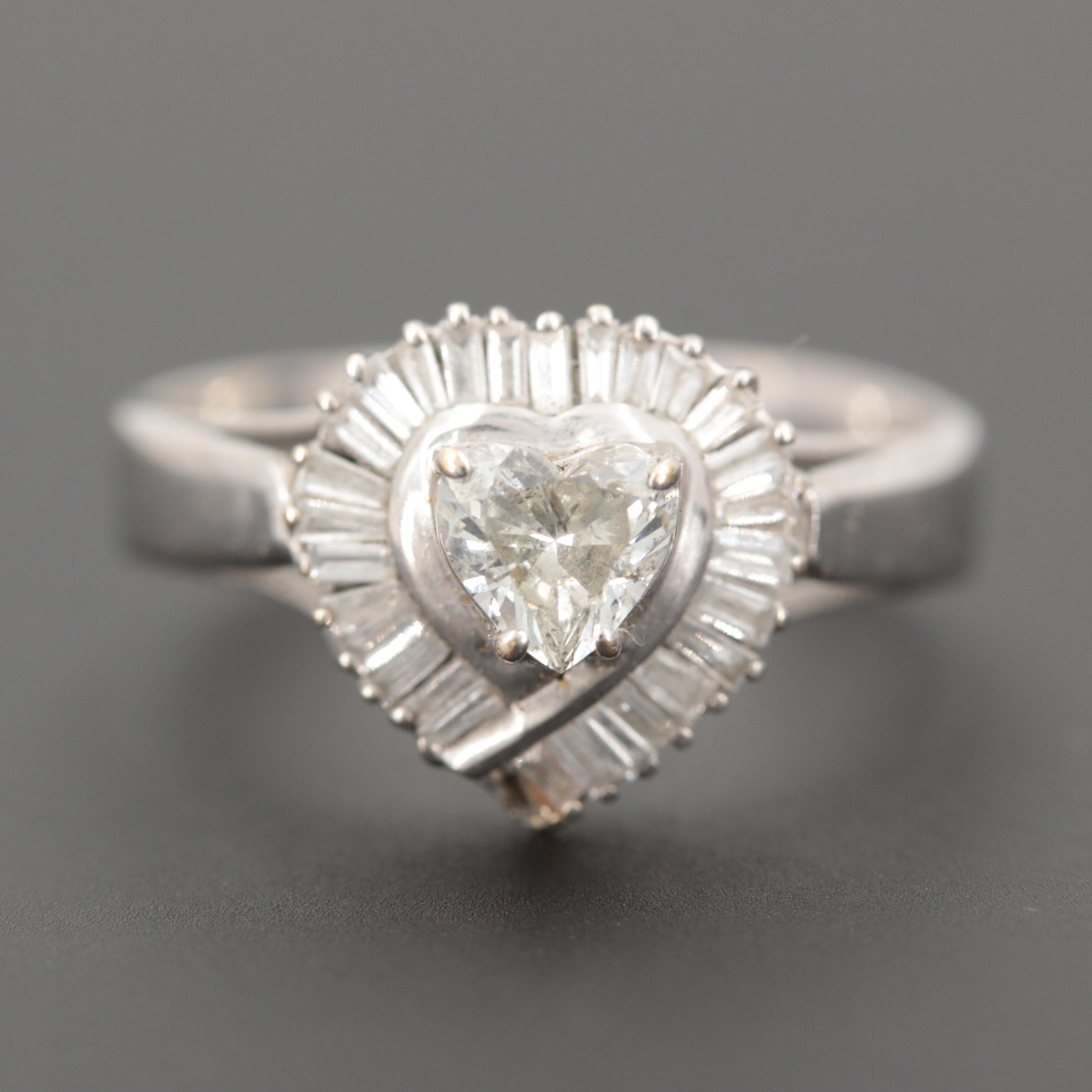 10K White Gold Heart Motif Diamond Ring