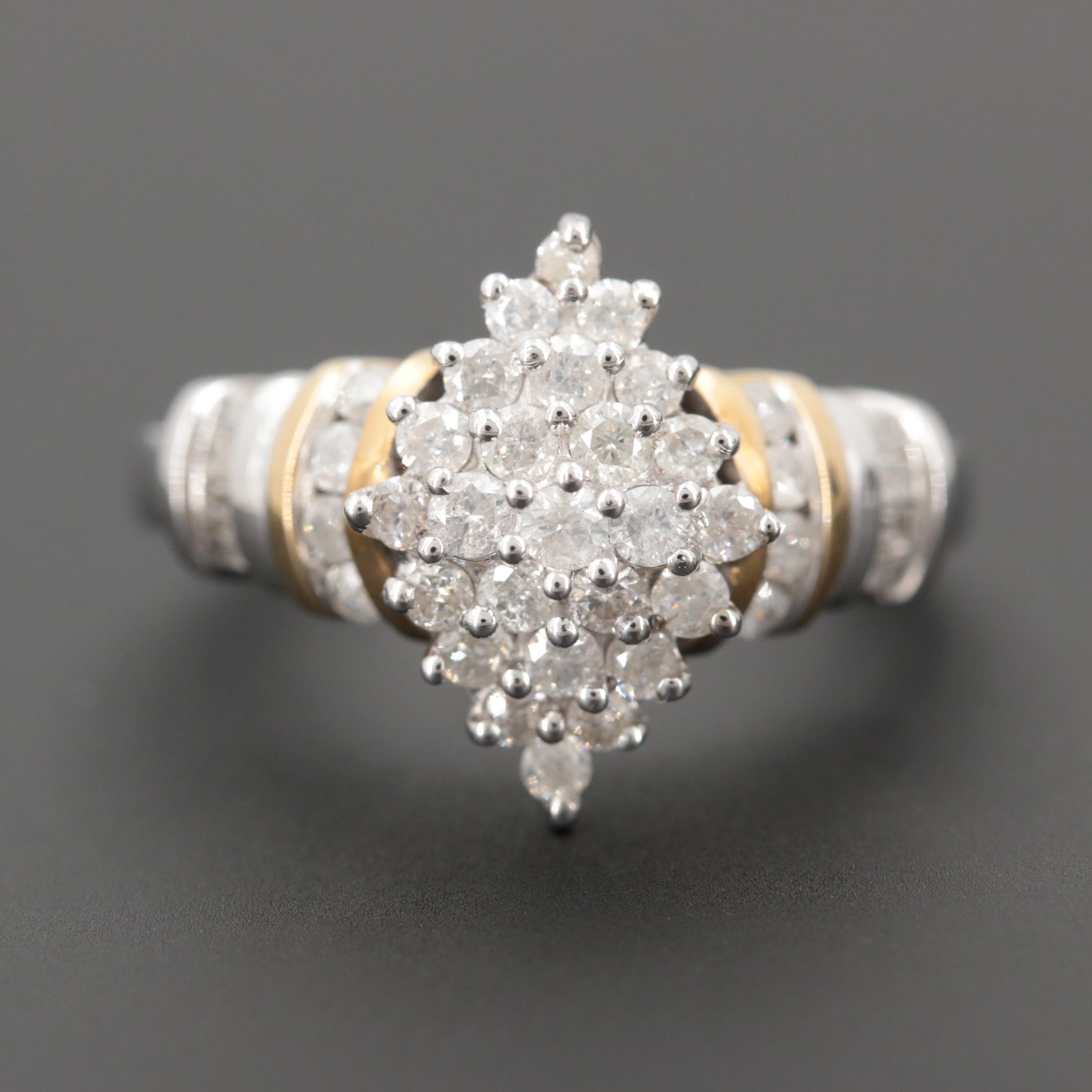 10K White Gold 1.02 CTW Diamond Ring