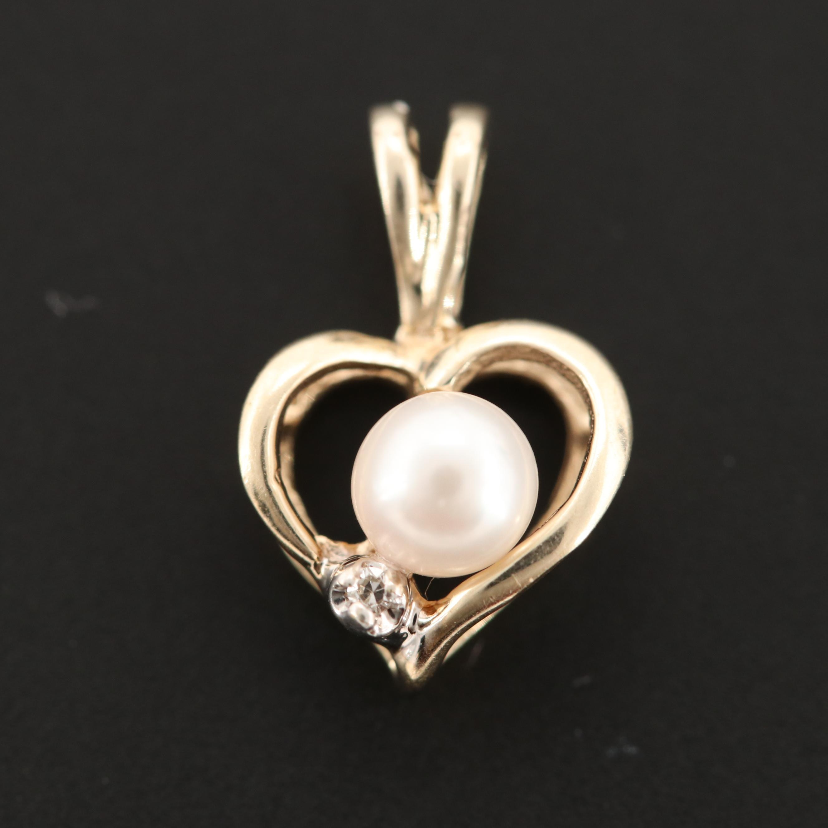 10K Yellow Gold Cultured Pearl and Diamond Heart Pendant