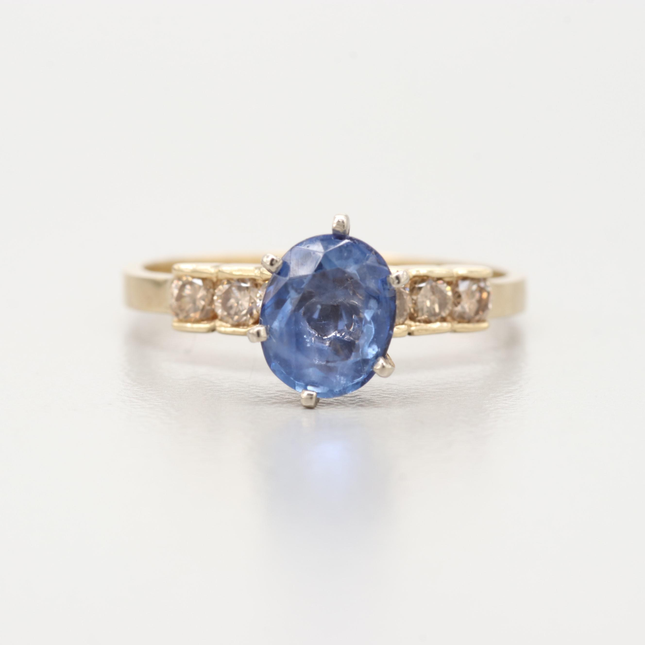 14K Yellow Gold 1.11 CT Sapphire and Diamond Ring