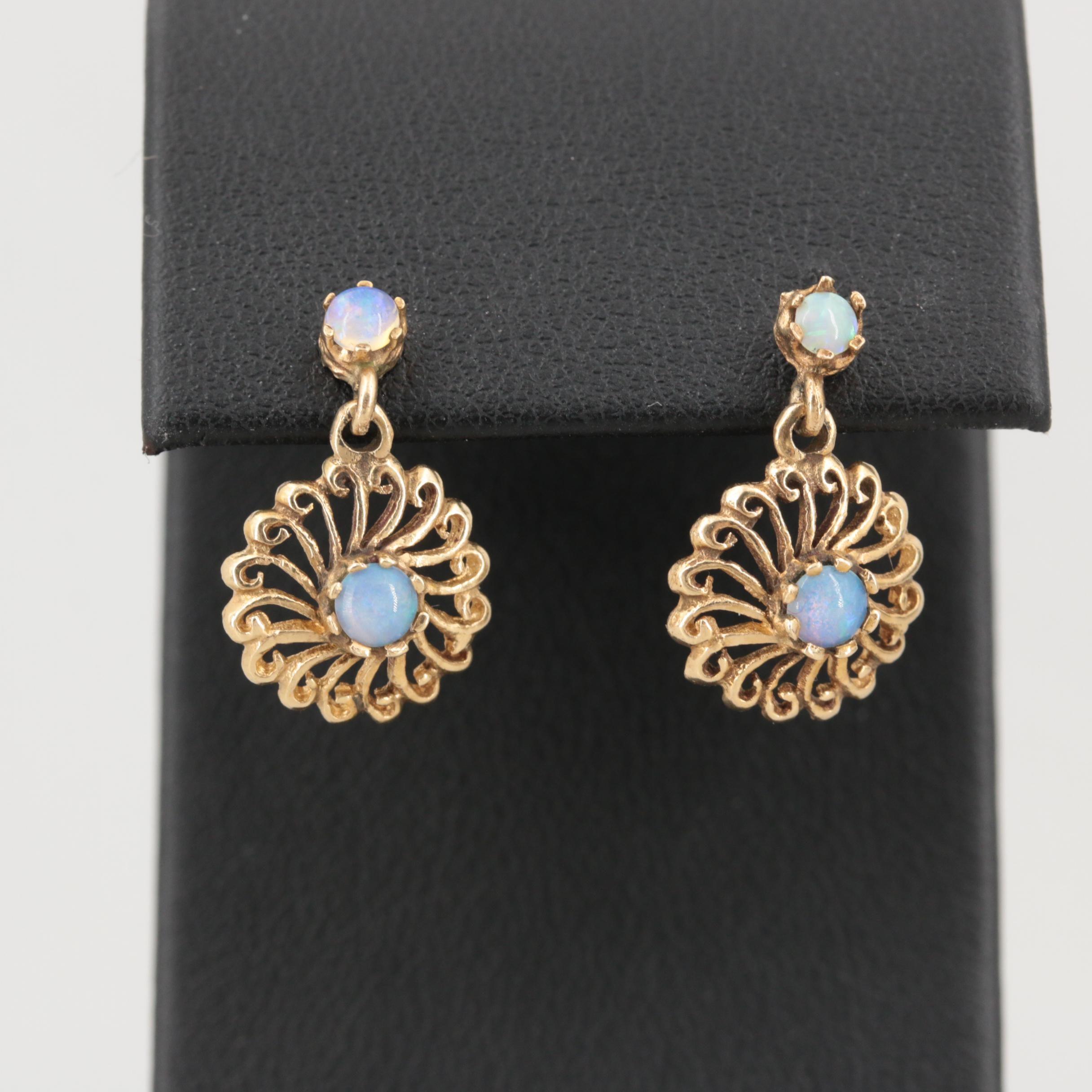14K Yellow Gold Dangle Opal Earrings