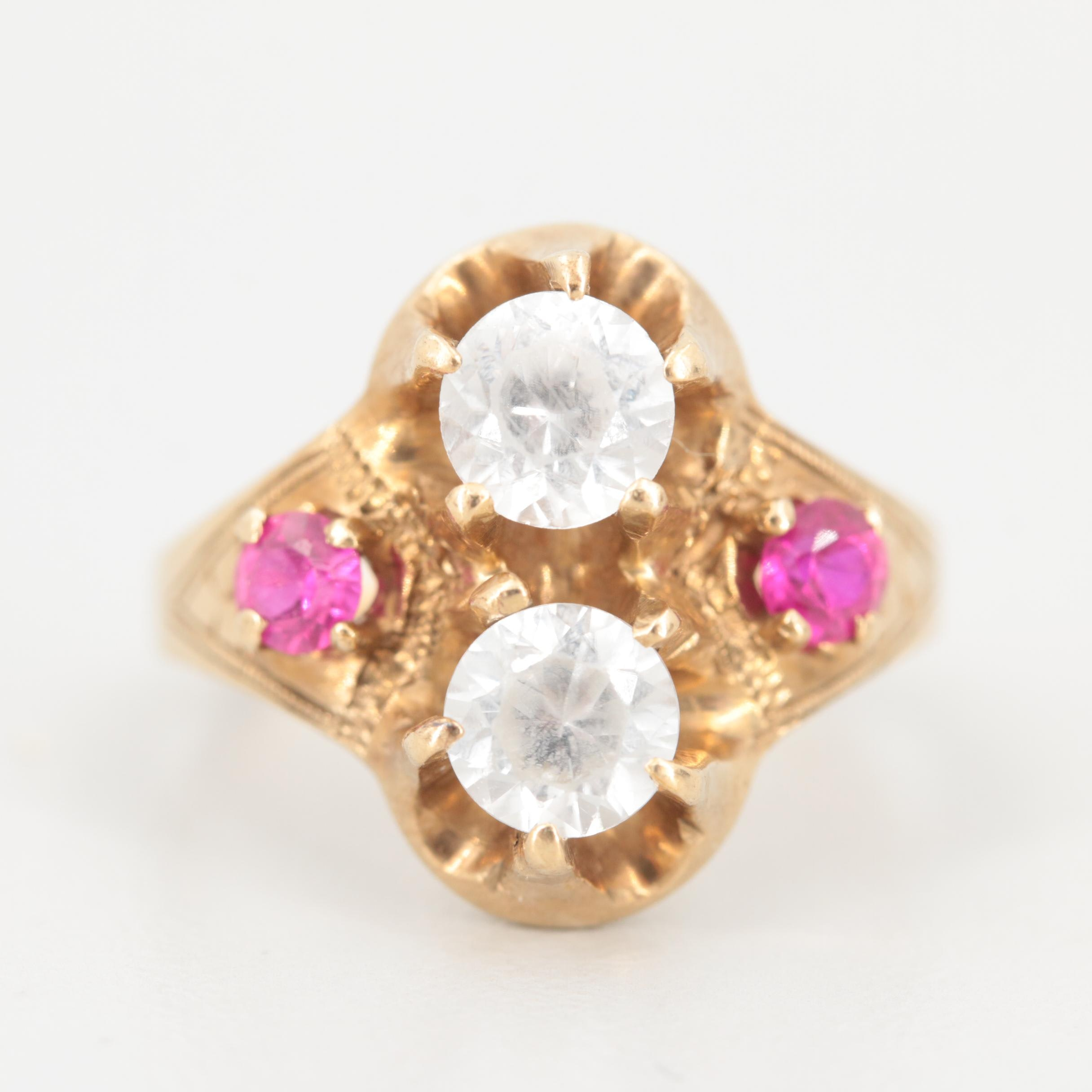 Early 1900s 10K Yellow Gold Zircon and Synthetic Ruby Ring
