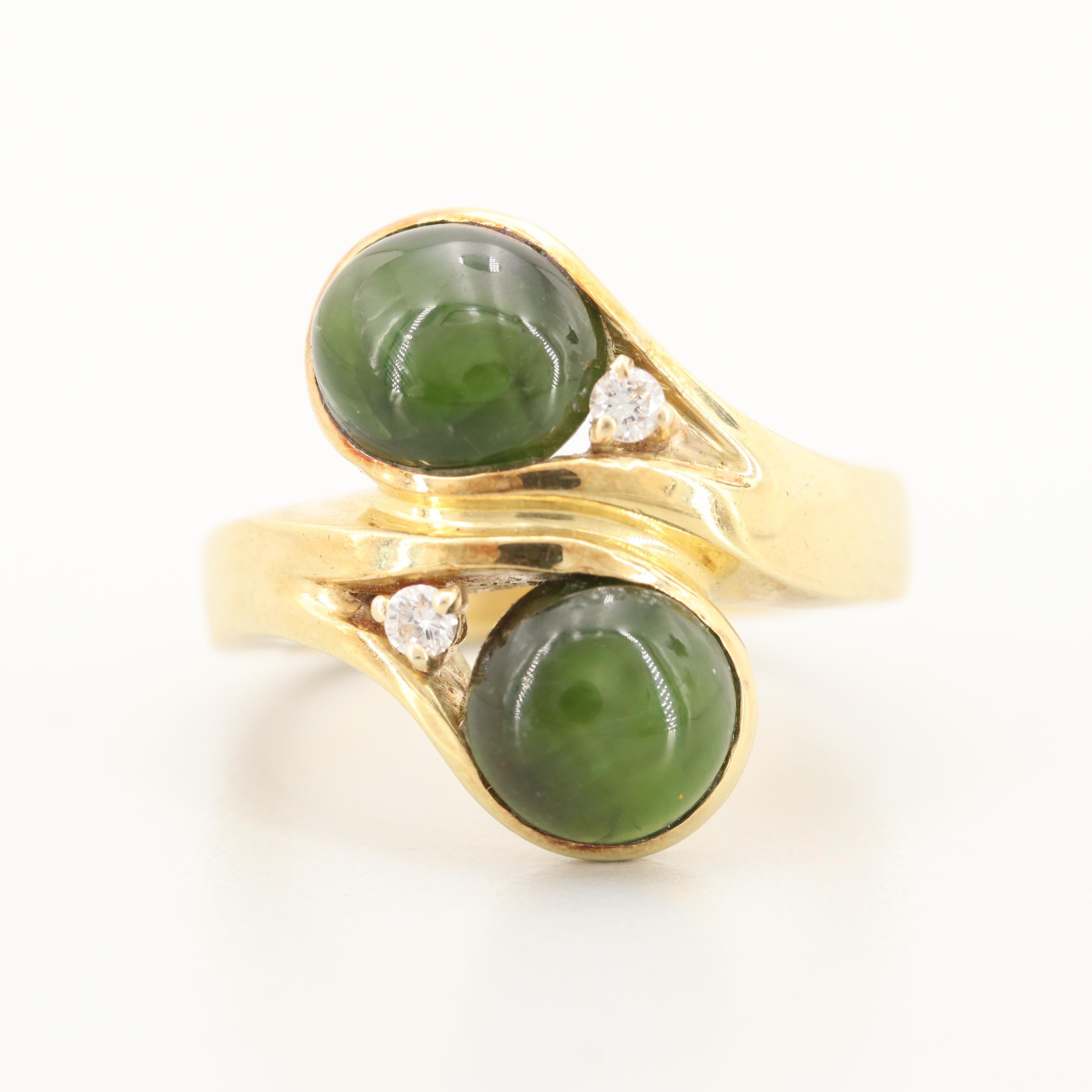 14K Yellow Gold Cat's Eye Diopside and Diamond Ring
