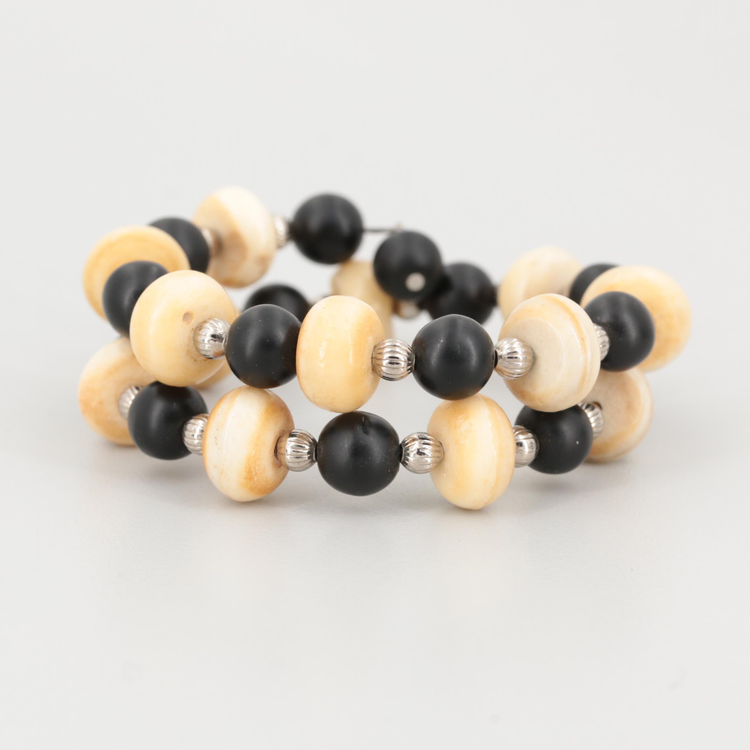Silver Tone Bone and Resin Wrap Bracelet