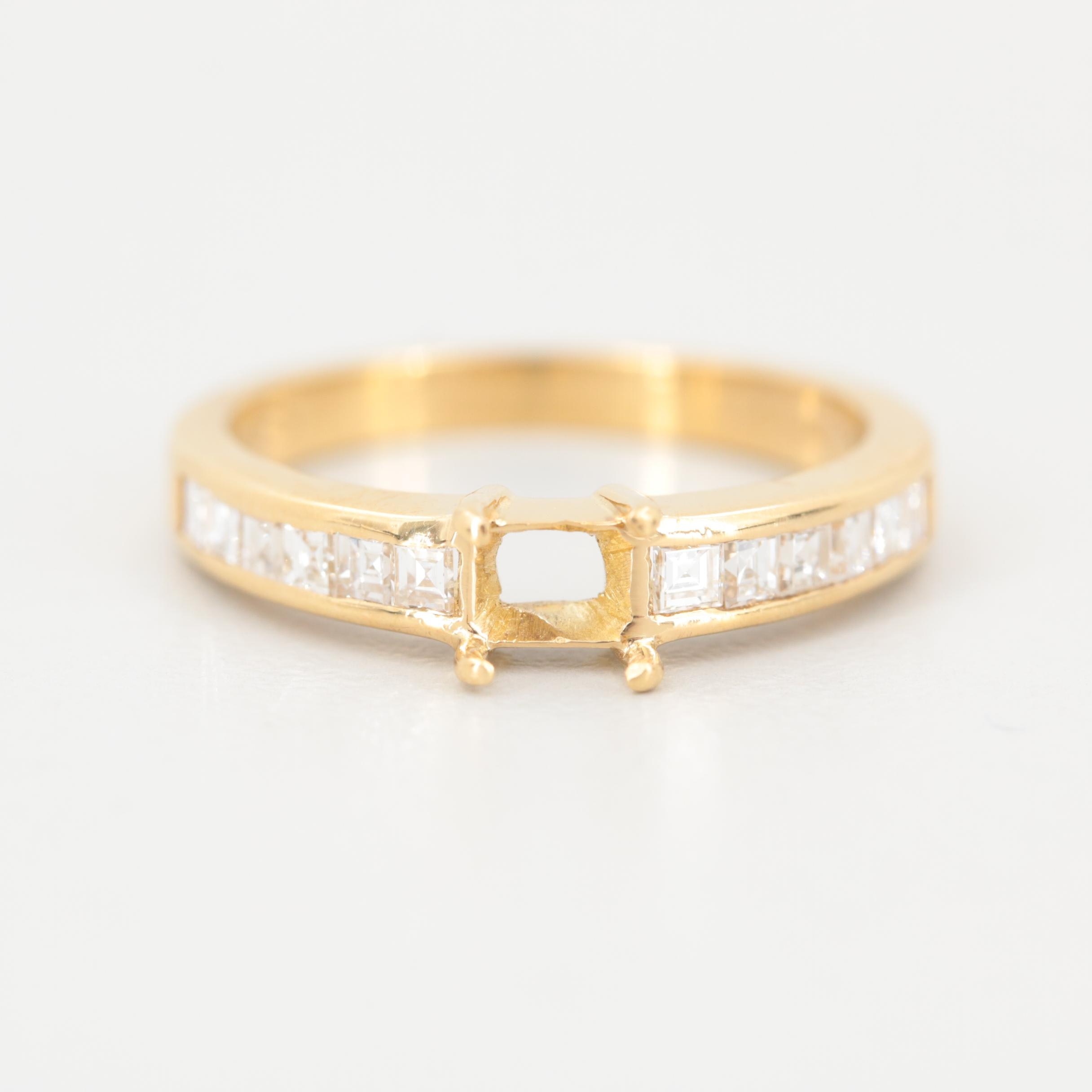 18K Yellow Gold Diamond Semi-Mount Ring