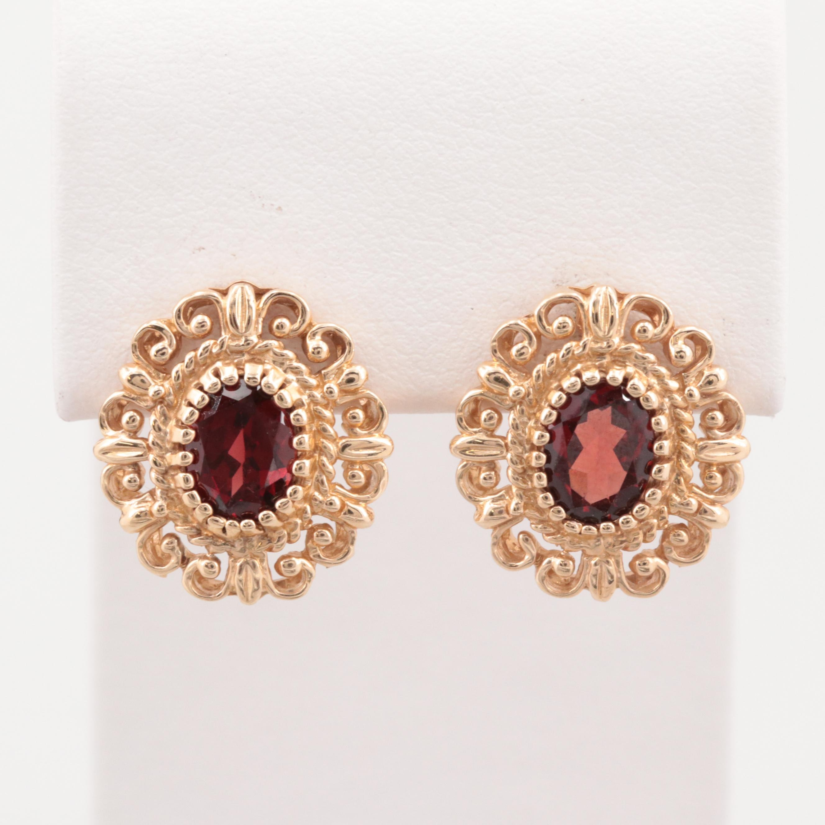 14K Yellow Gold Garnet Earrings