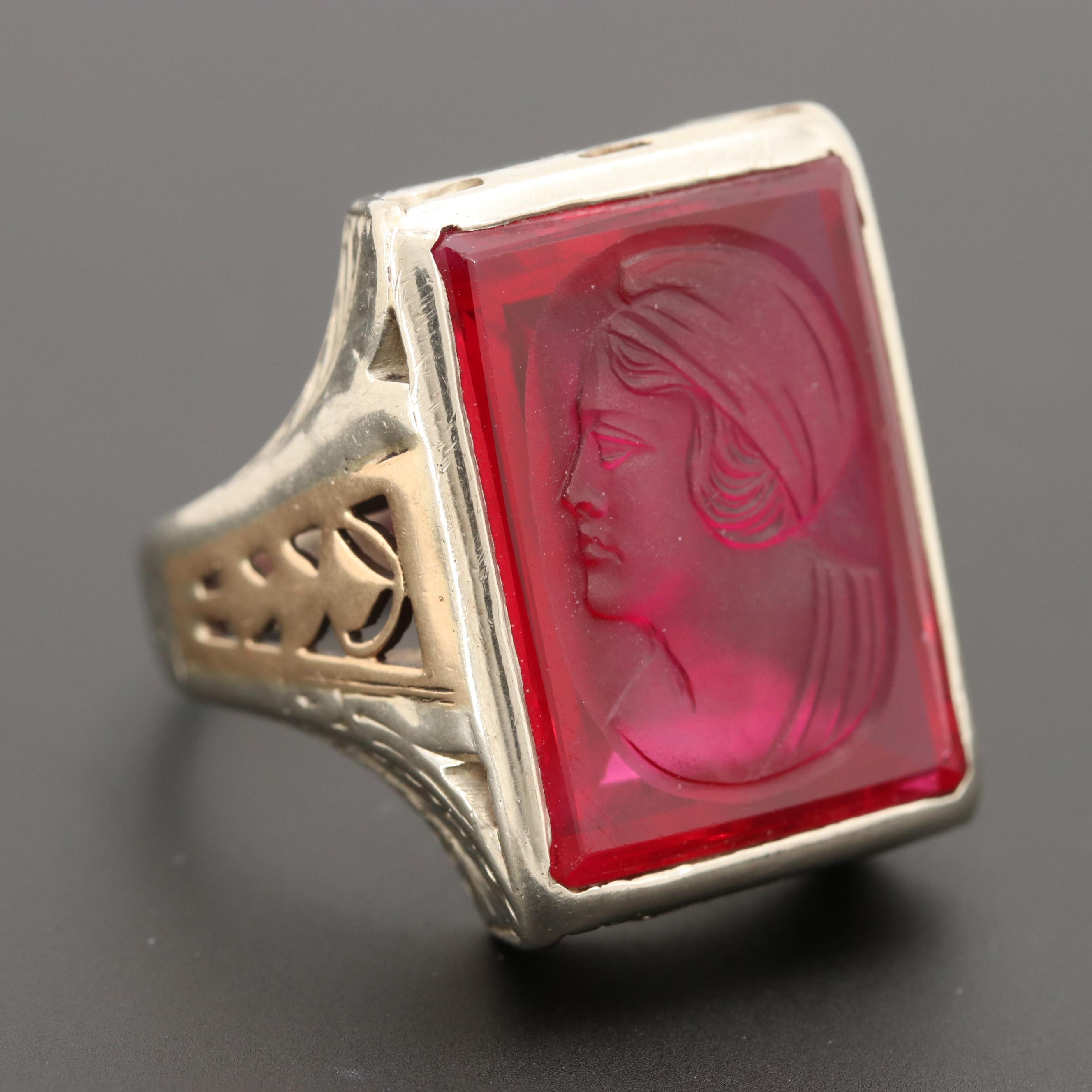 Art Nouveau 10K White Gold Synthetic Ruby Ring with 10K Yellow Gold Accents